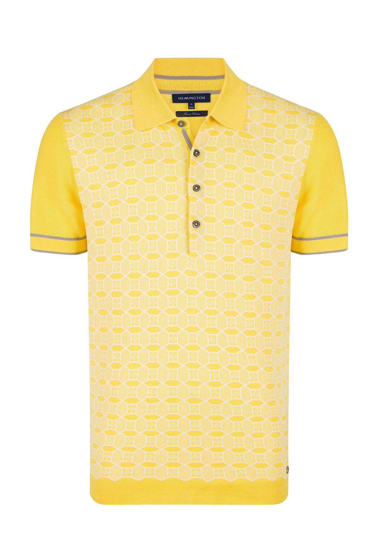 Desenli Sarı Pamuk Triko Polo