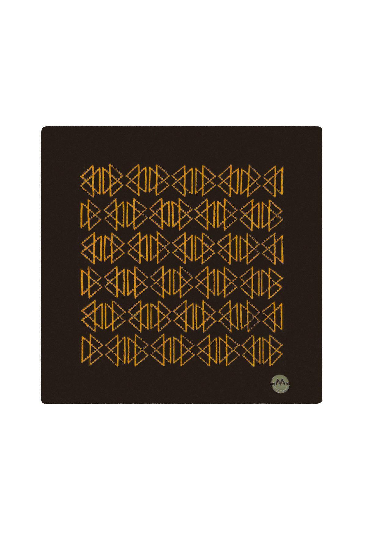 Desenli Siyah Örgü Ceket Mendili