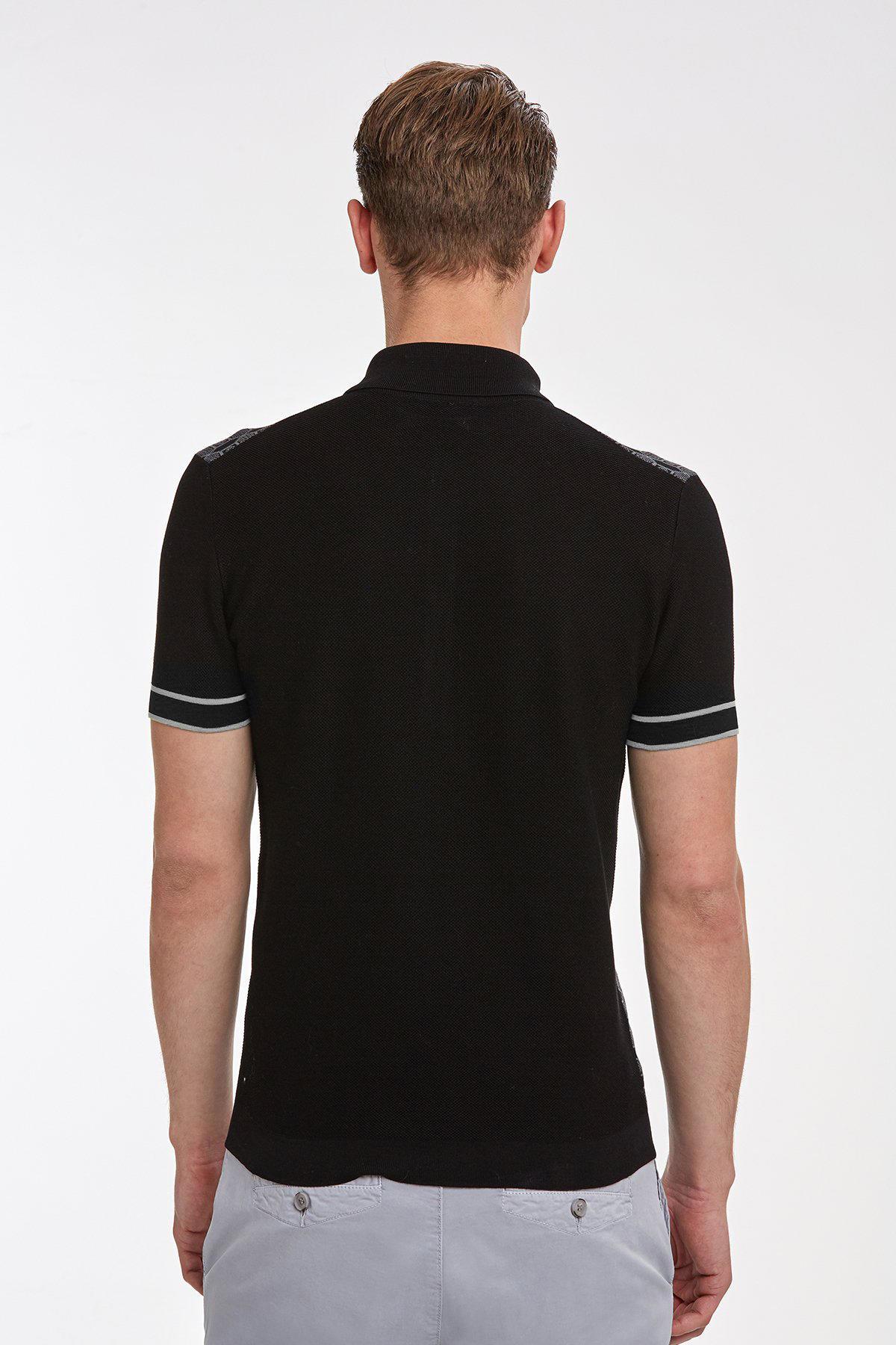 Desenli Siyah Pamuk Triko Polo