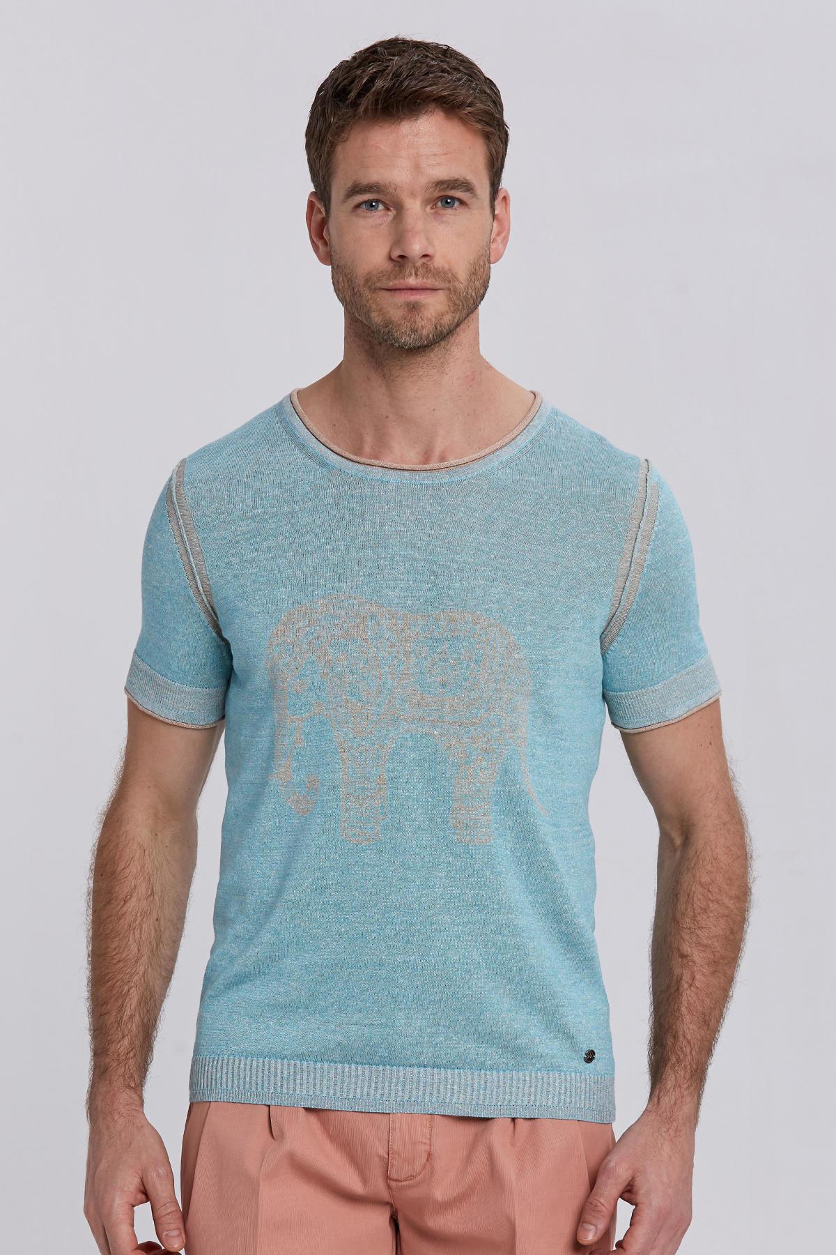 Desenli Turkuaz Keten Pamuk Triko T-Shirt