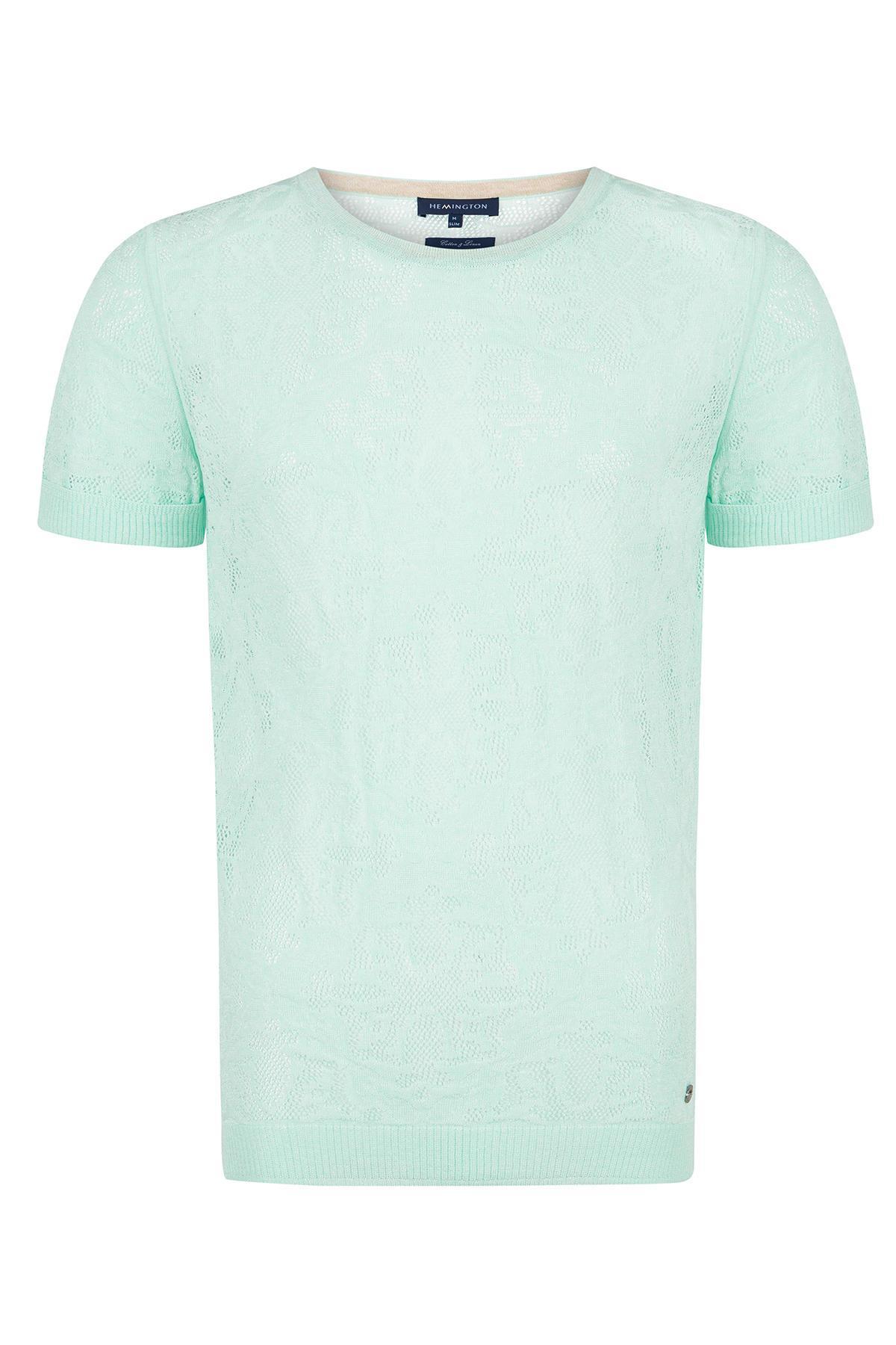Desenli Yeşil Yazlık Keten Triko T-Shirt