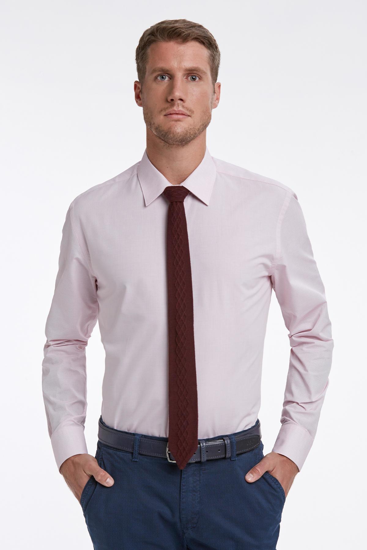 Dokulu Pembe Business Gömlek