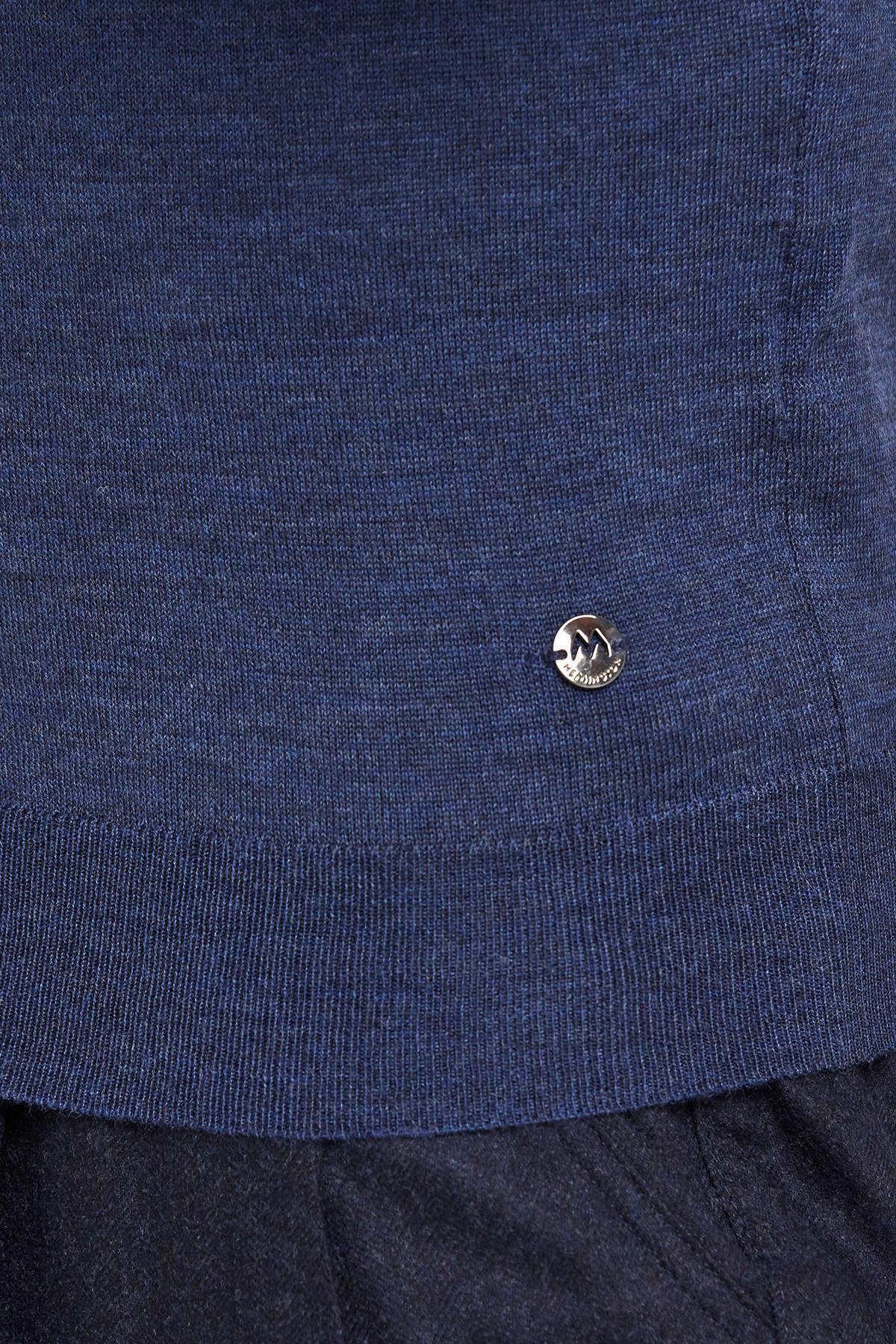 Düğmeli Slim Fit Koyu Mavi Merino Yün Hırka