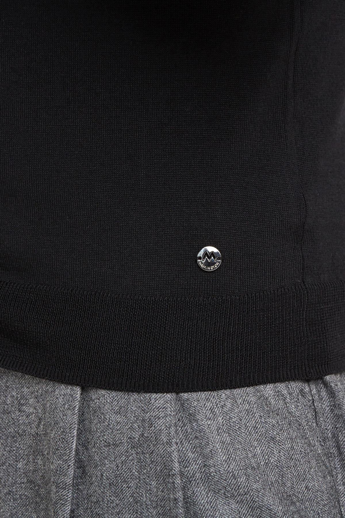 Düğmeli Slim Fit Siyah Merino Yün Hırka