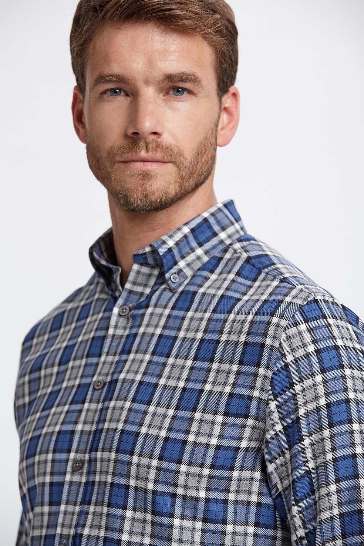 Ekose Desen Mavi Pamuk Gömlek