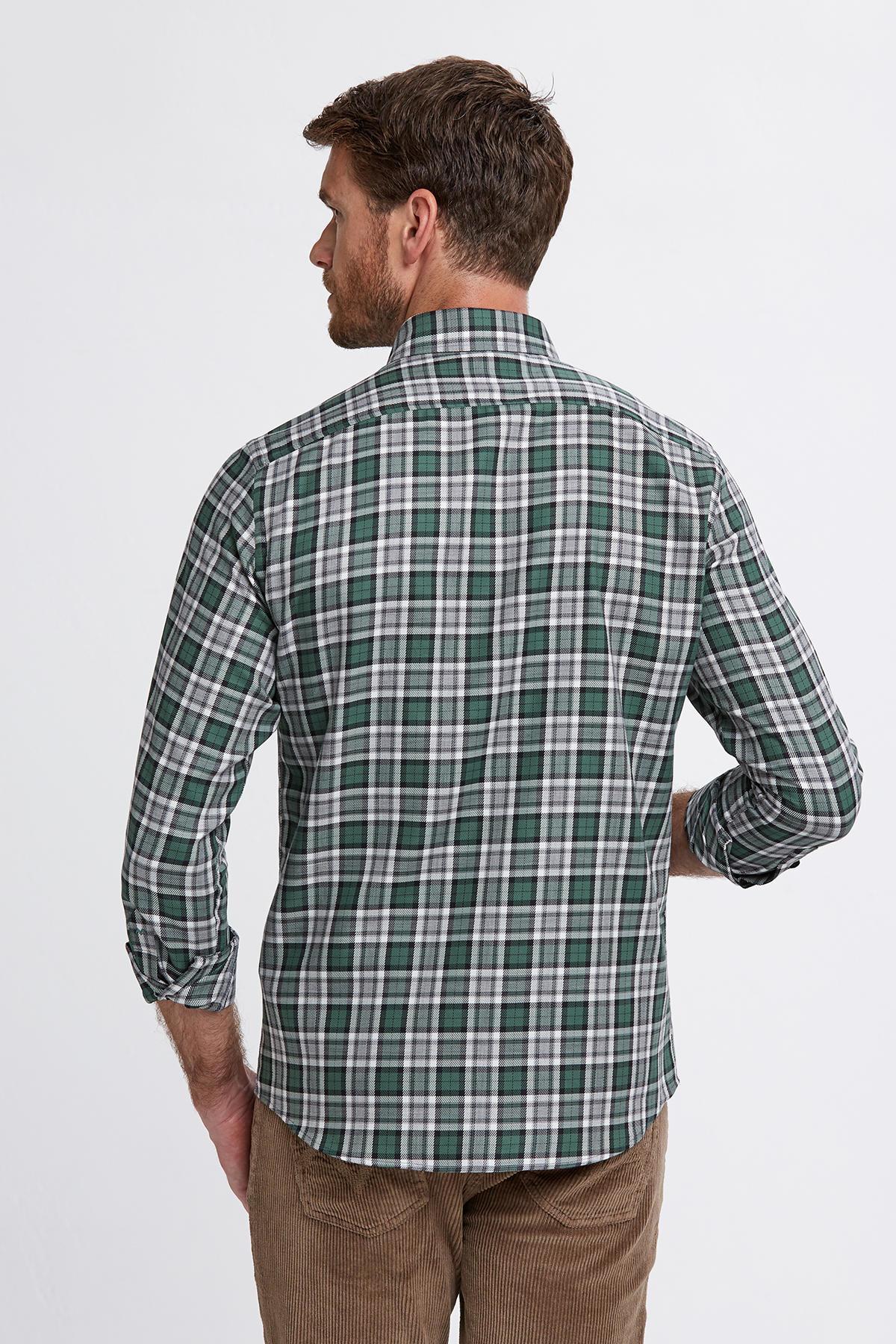 Ekose Desen Yeşil Pamuk Gömlek