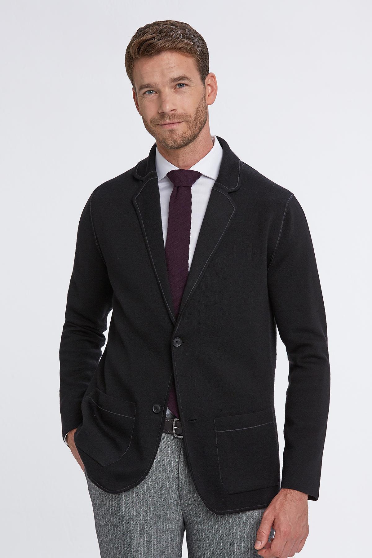 Extrafine Merino Çift Yönlü Siyah Triko Ceket