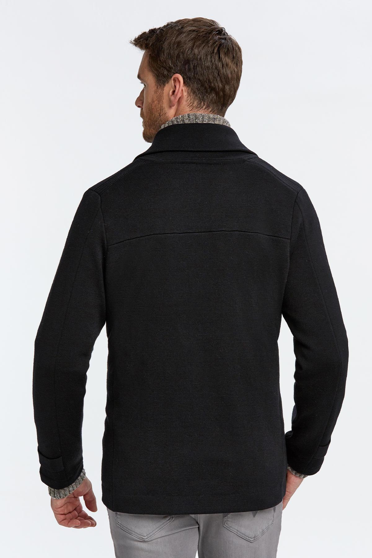 Extrafine Merino Siyah Kruvaze Triko Ceket