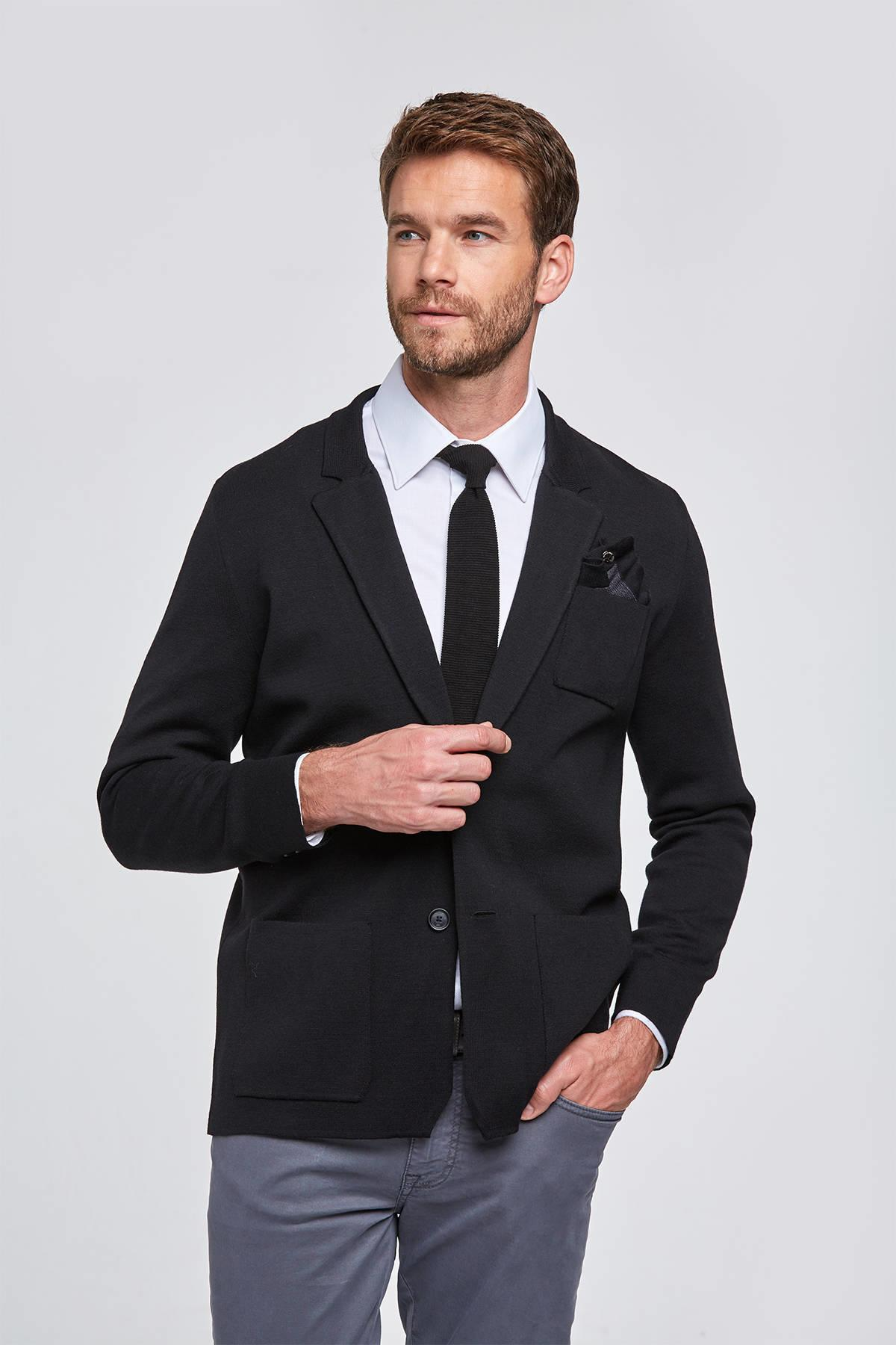 Extrafine Merino Siyah Triko Ceket