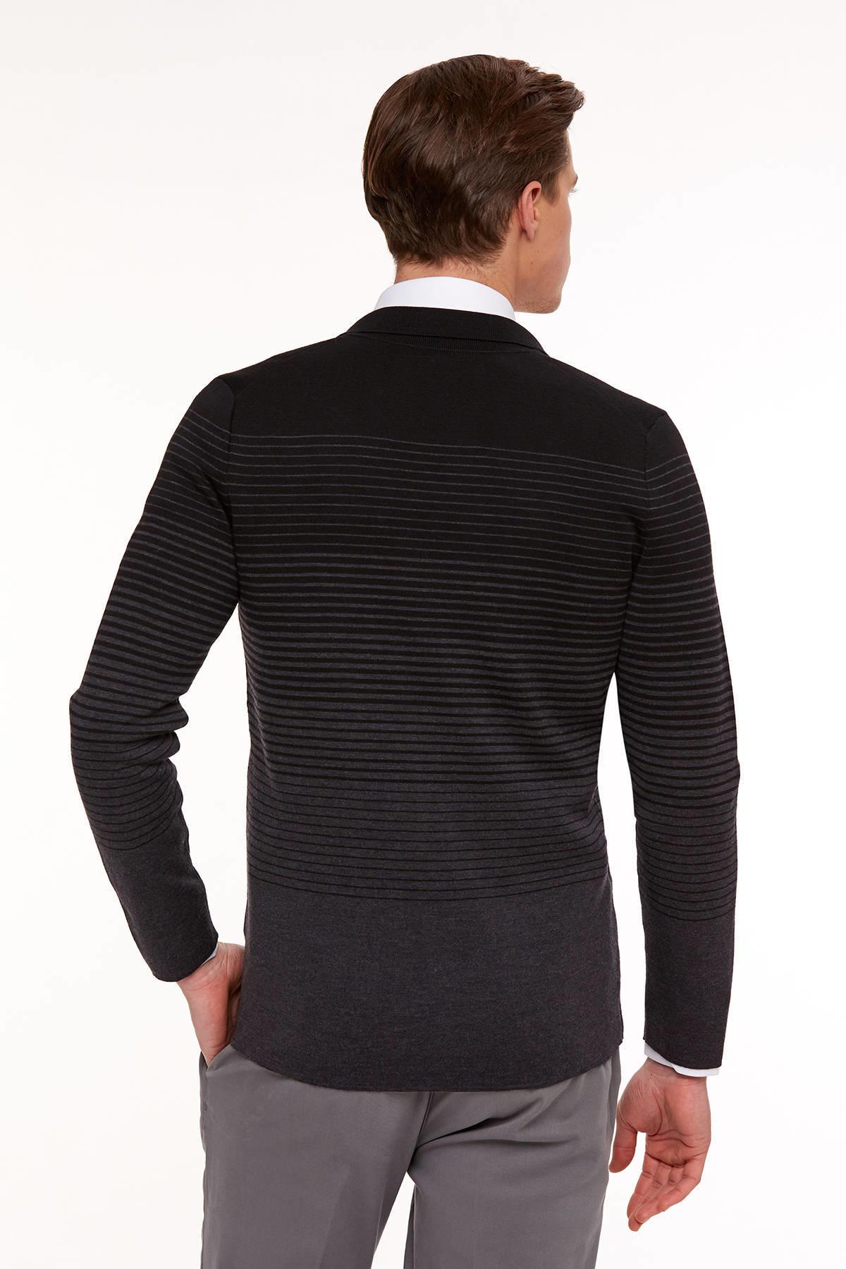Extrafine Merino Slim Fit Degrade Antrasit Triko Ceket