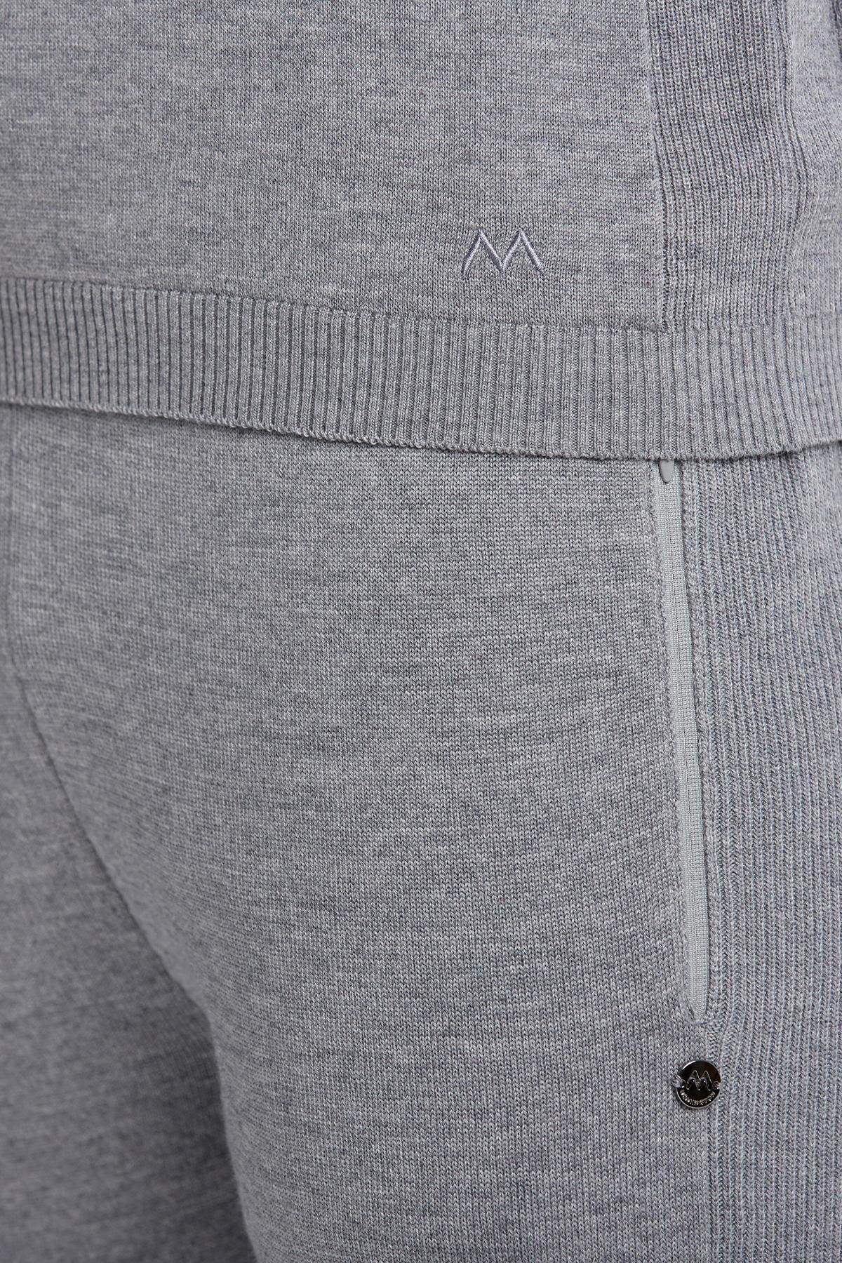 Fermuarlı Merino Yün Açık Gri Activewear Triko