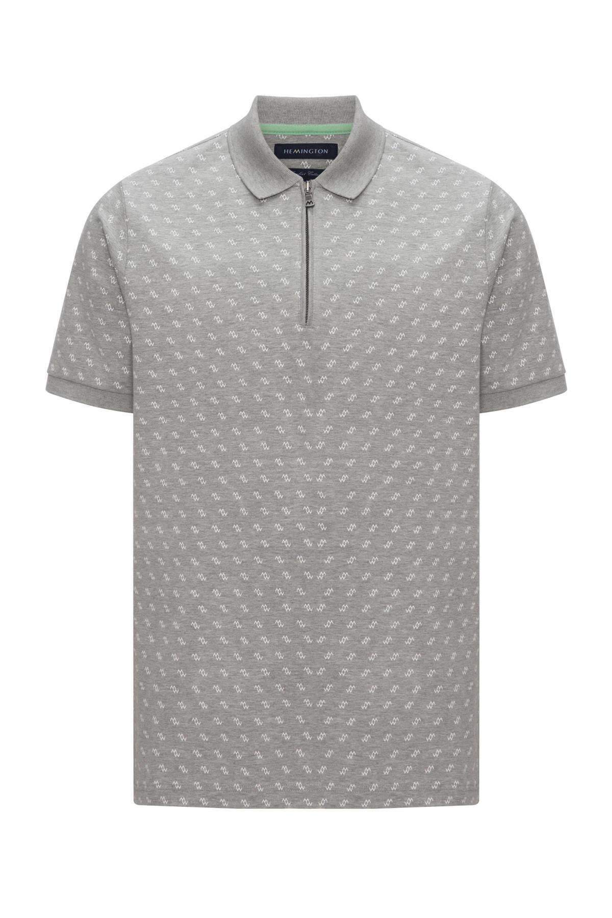 Fermuarlı Gri Baskılı Polo Yaka T-Shirt