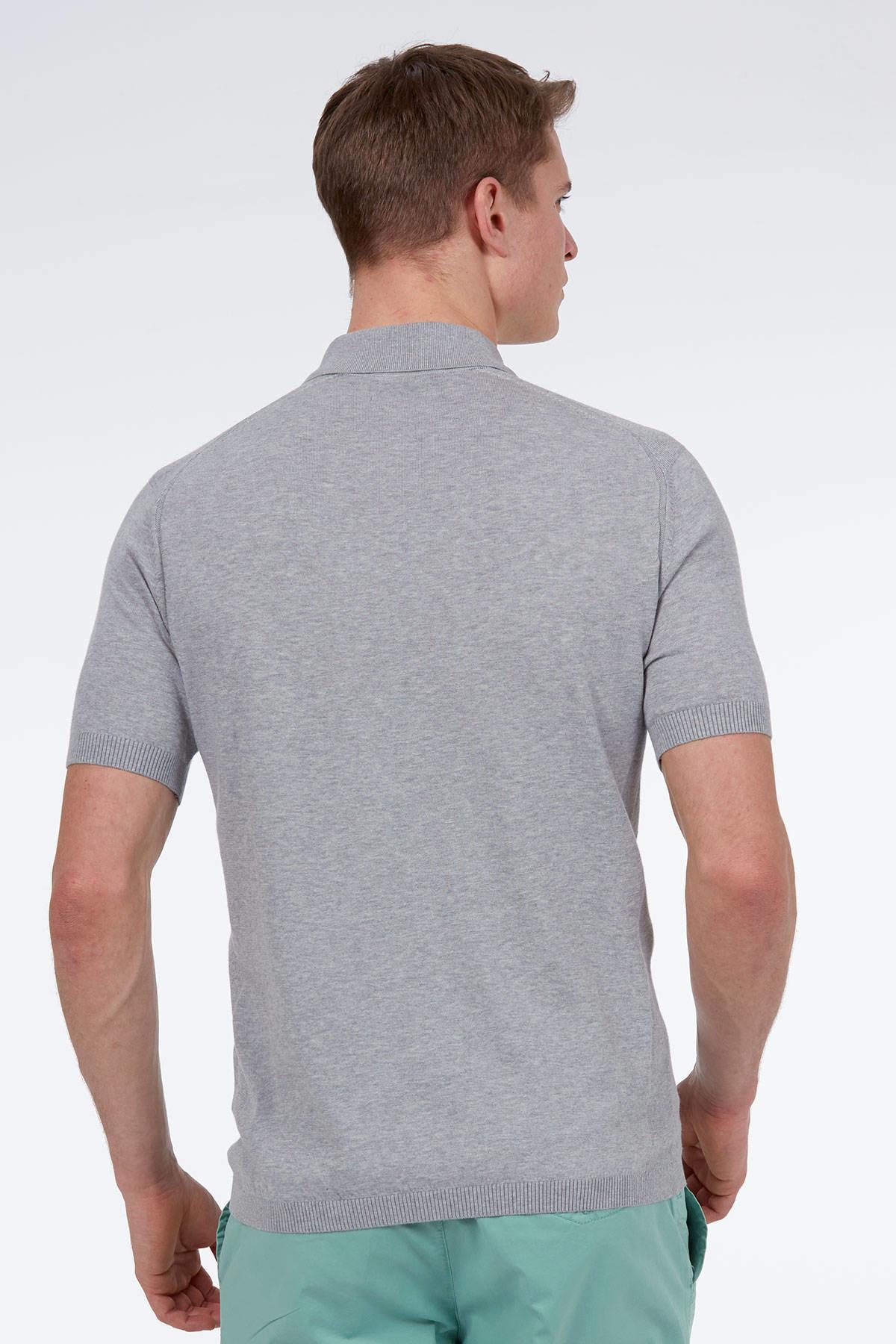 Fermuarlı Gri Giza Pamuk Triko Polo T-Shirt