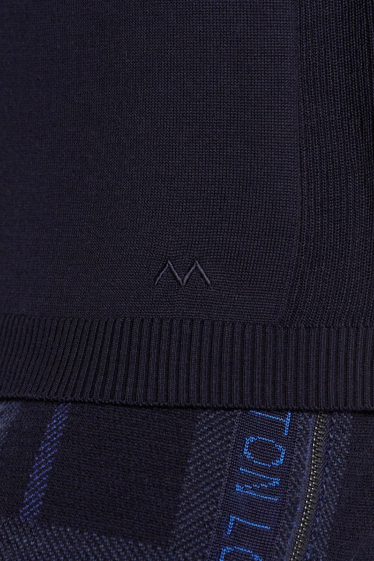 Fermuarlı Merino Yün Lacivert Activewear Triko