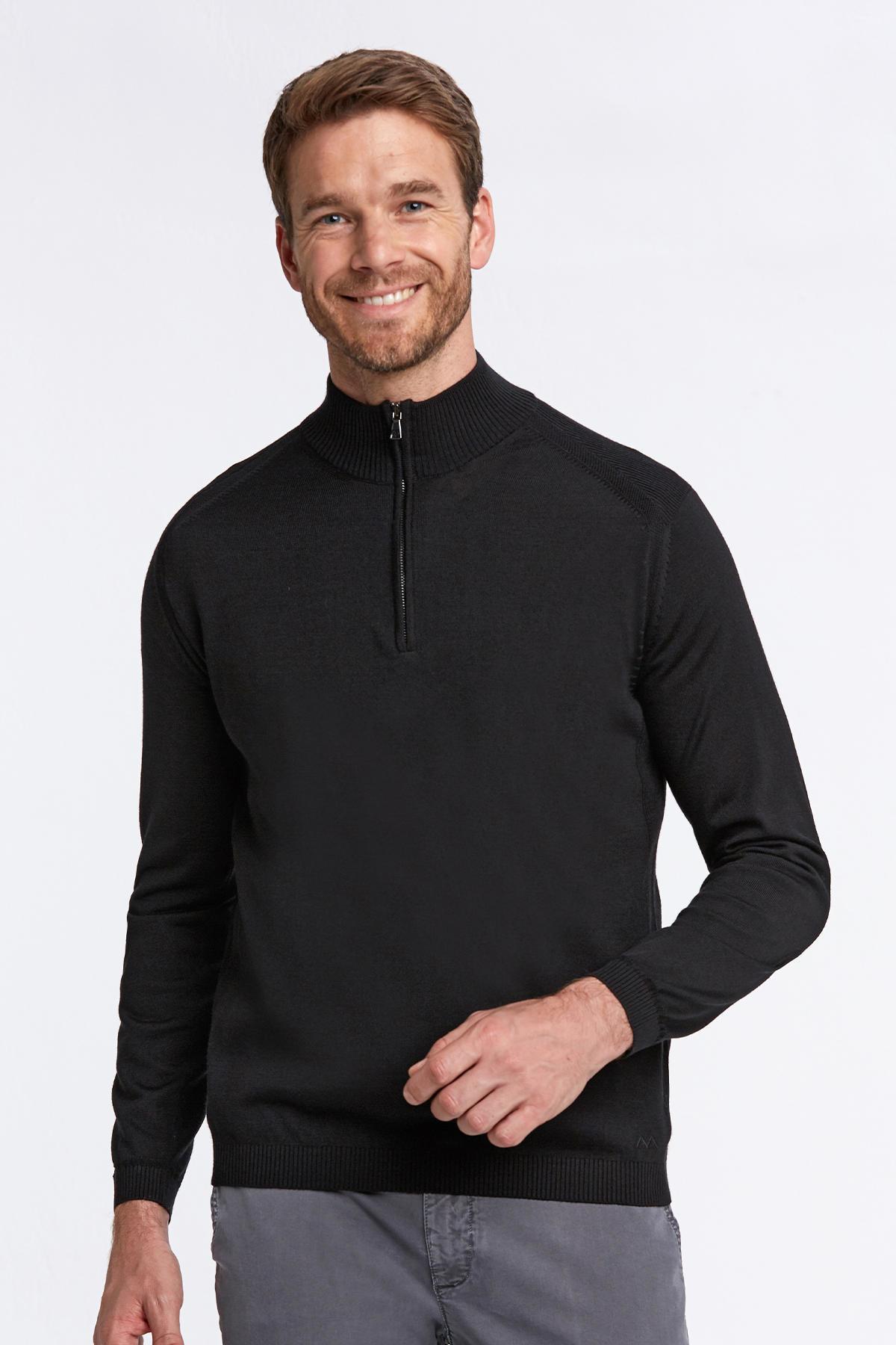 Fermuarlı Merino Yün Siyah Activewear Triko