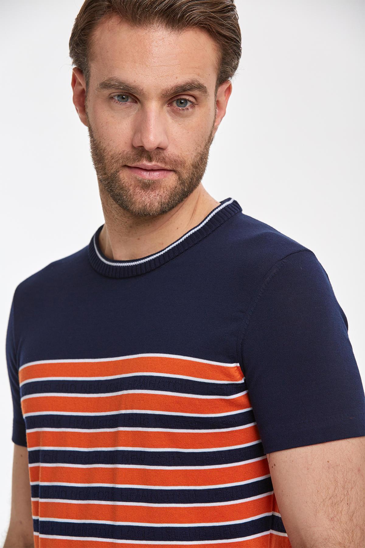 Giza Pamuk Çizgili Lacivert Triko T-Shirt
