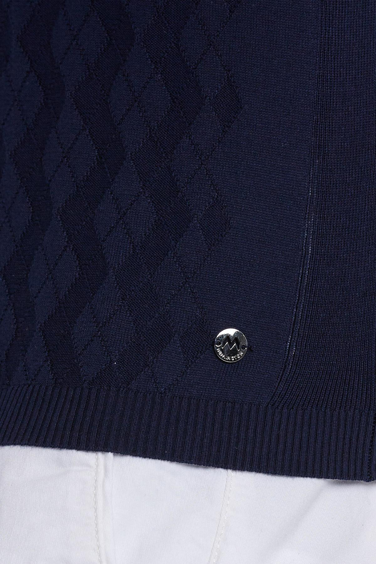 Desenli Giza Pamuk Lacivert Triko Polo