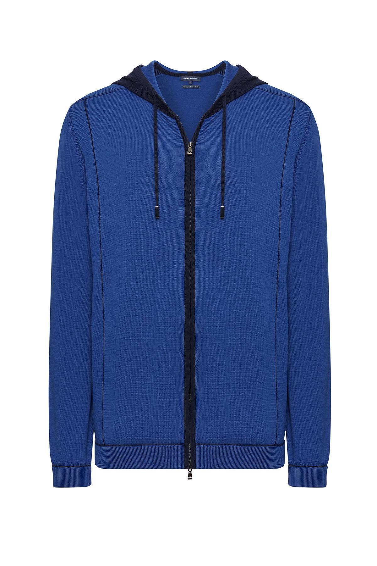Giza Pamuk İndigo Mavi Loungewear Triko Hırka