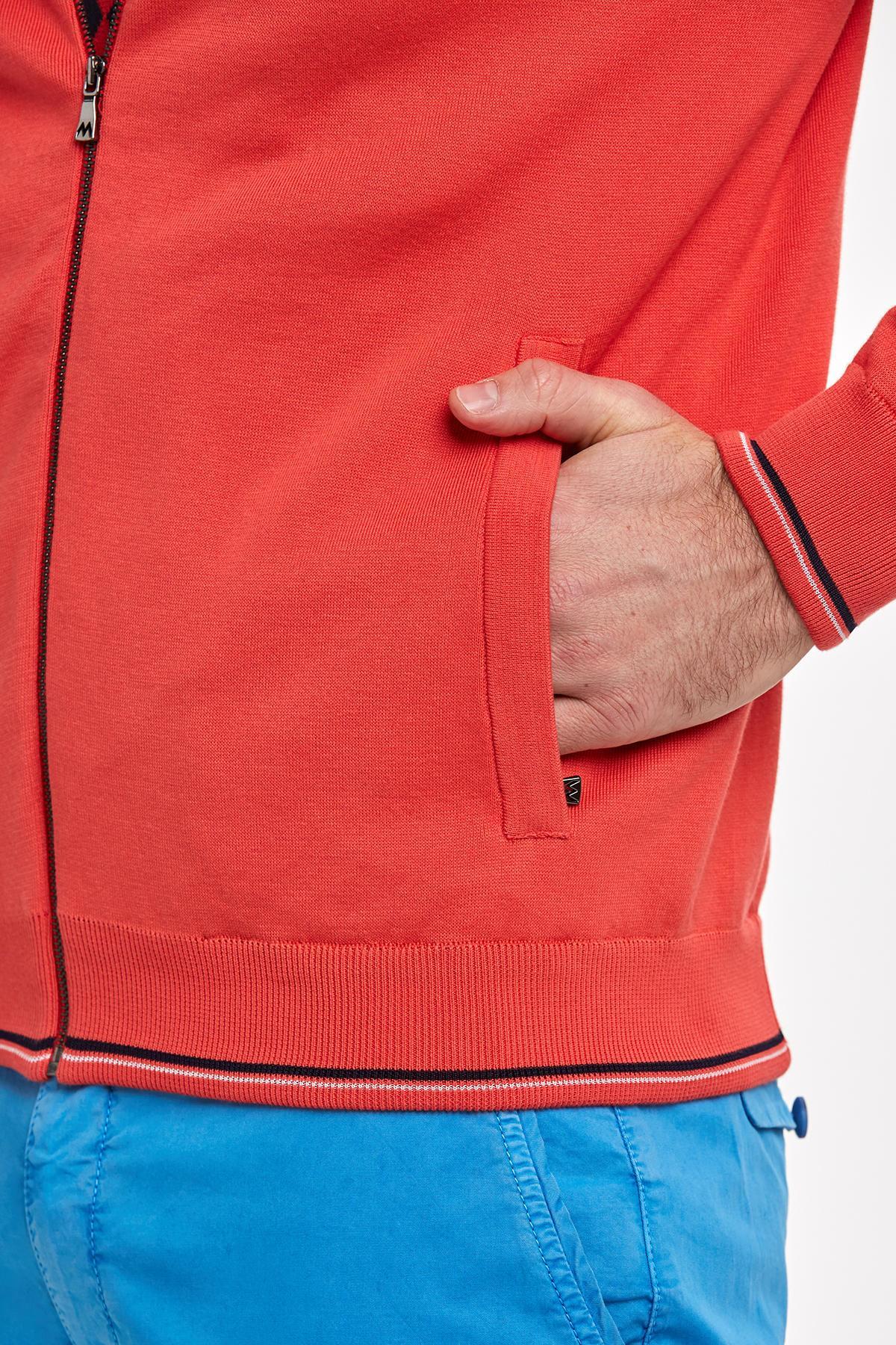 Giza Pamuk Kırmızı Spor Triko Bomber Ceket