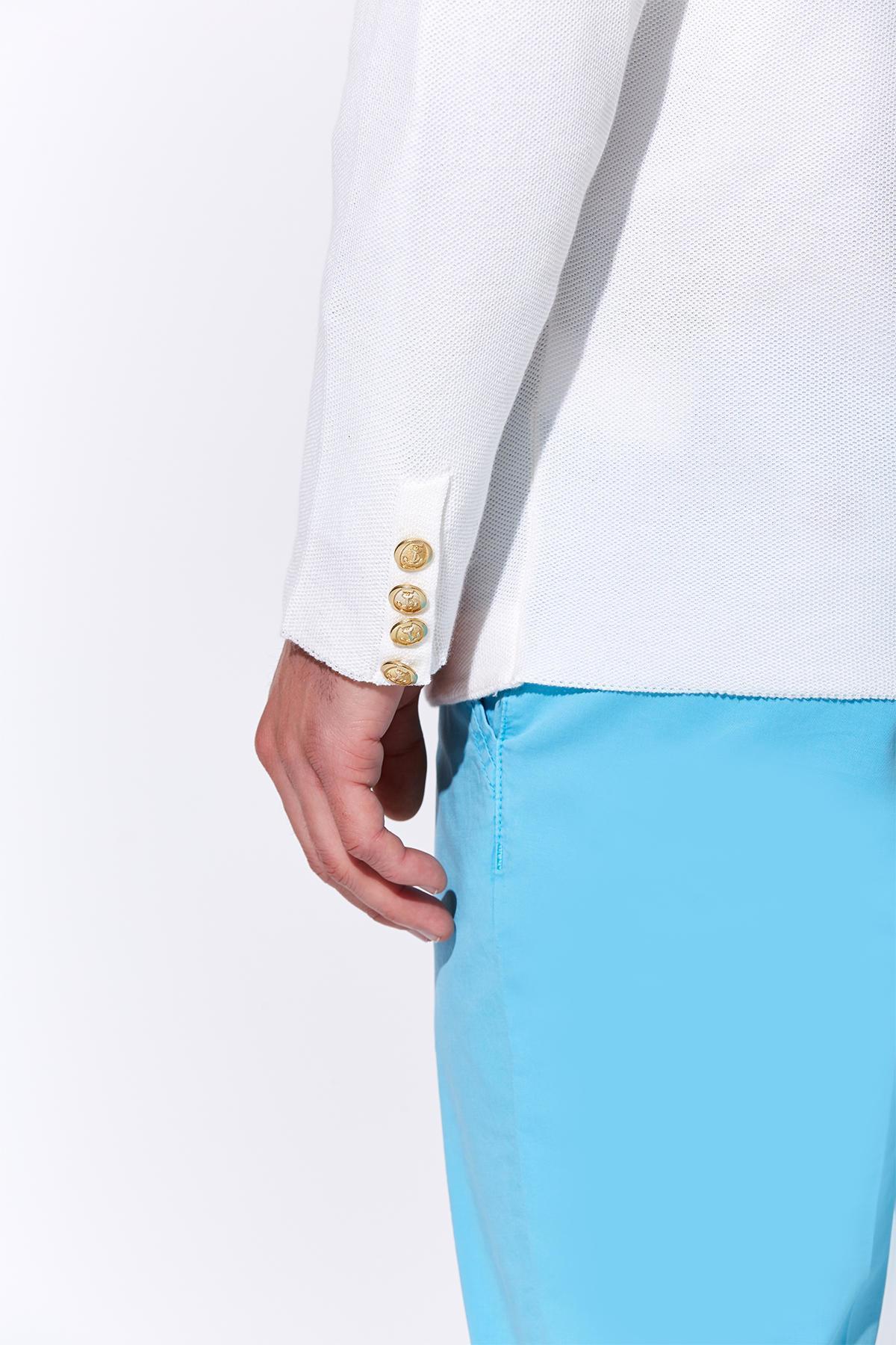 Giza Pamuk Beyaz Triko Kruvaze Ceket