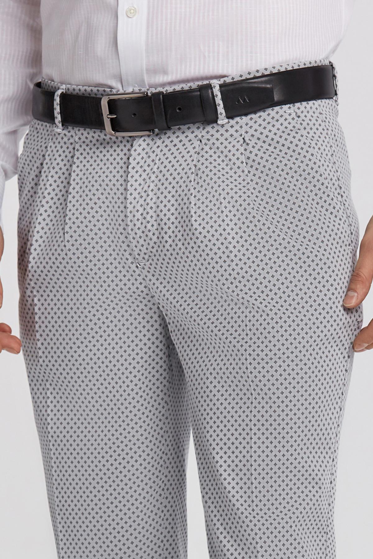 Gri Desenli Pamuk Chino Pantolon
