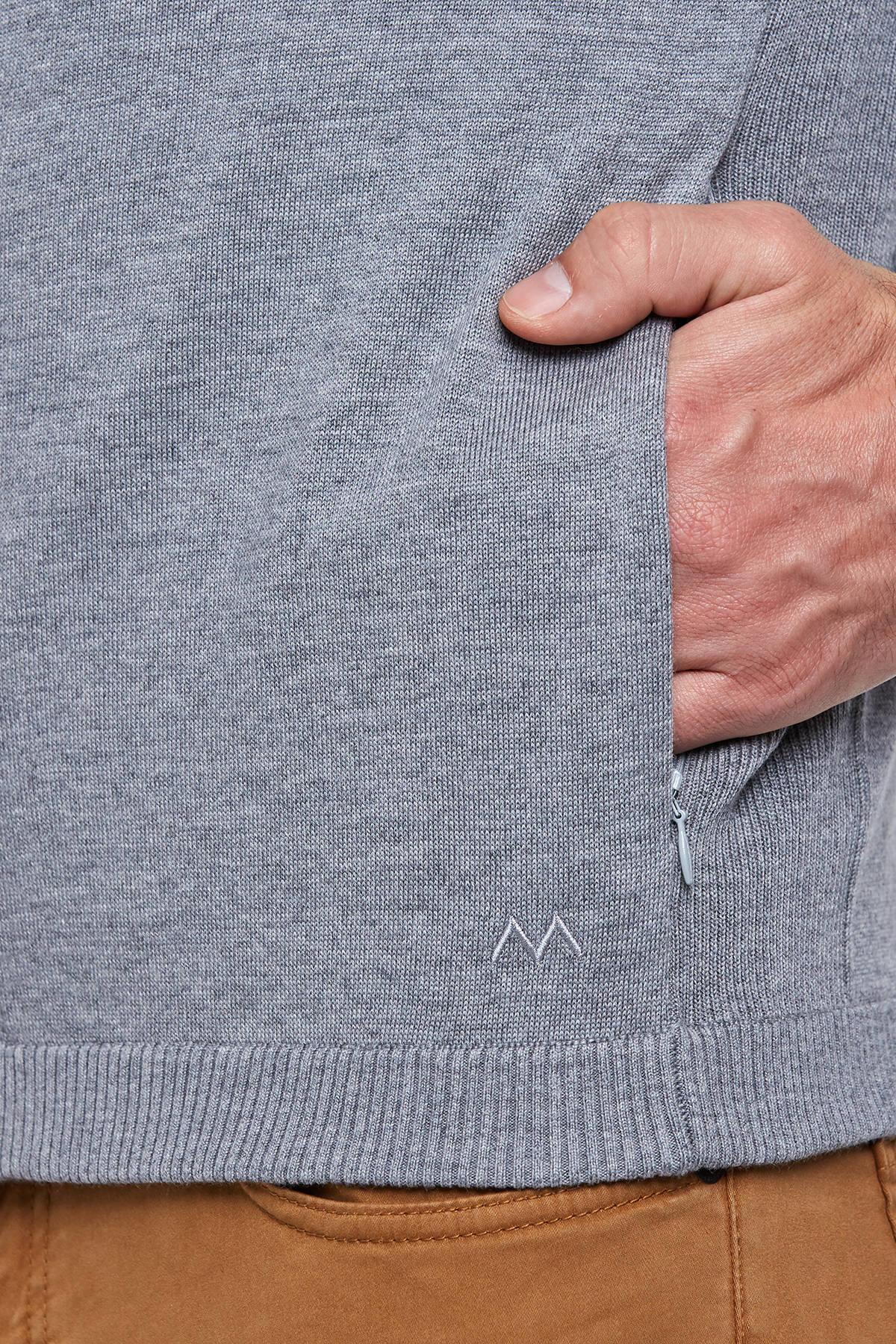 Fermuarlı Merino Yün Gri Activewear Hırka