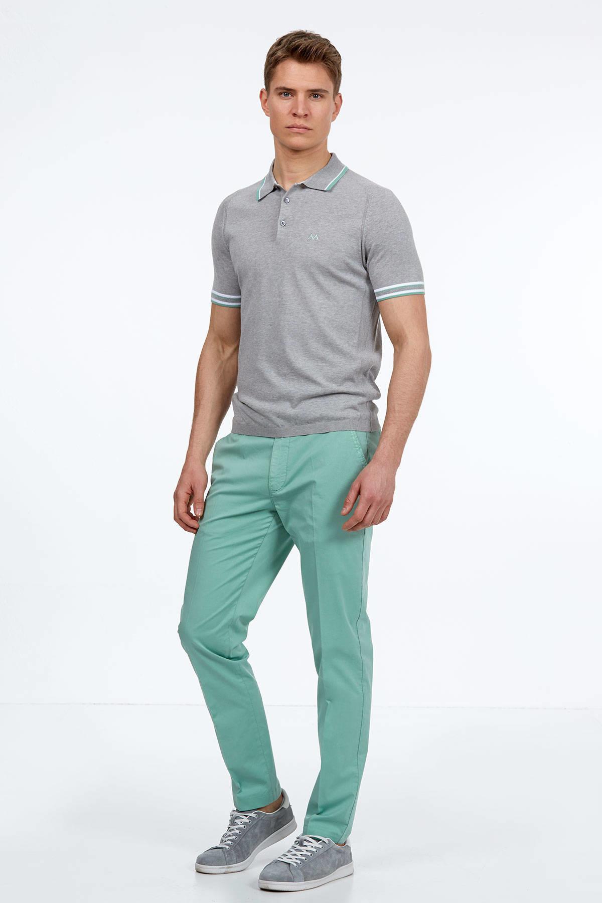 Gri Giza Pamuk Triko Polo T-Shirt