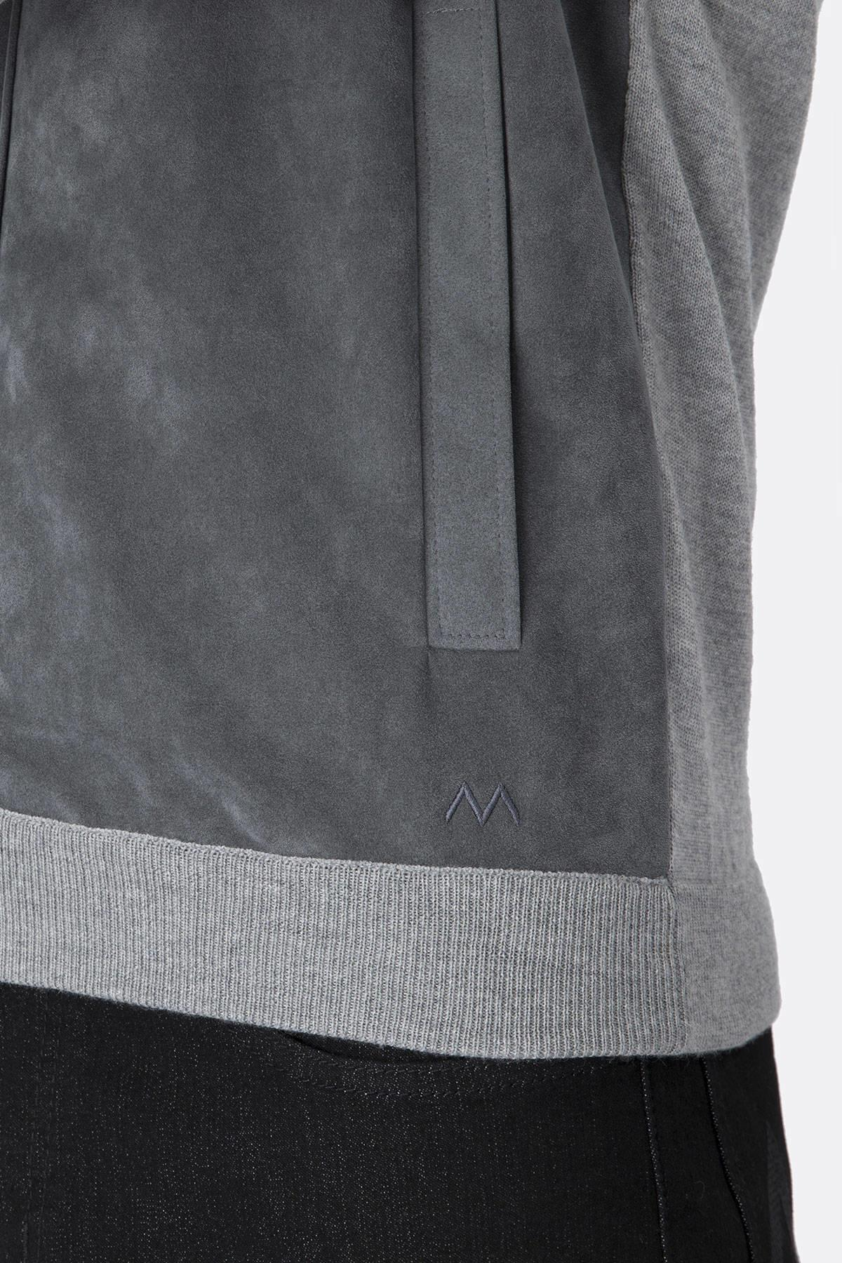 Extrafine Merino Açık Gri Spor Triko Ceket