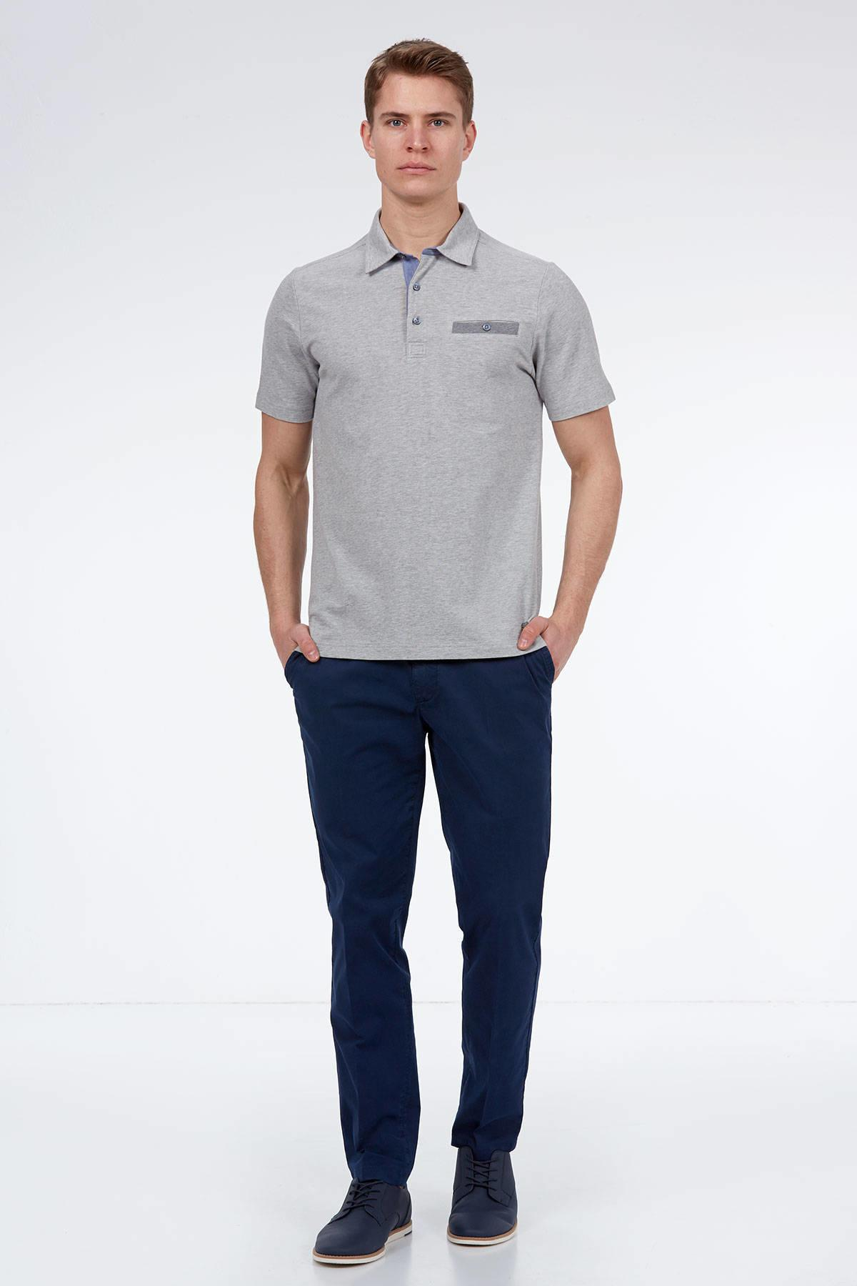 Gri Polo Yaka Pamuk T-Shirt