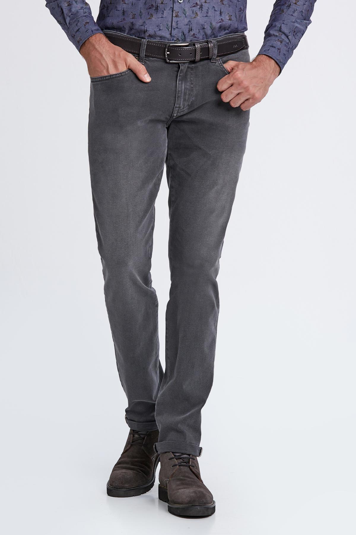 Slim Fit Gri Denim Pantolon