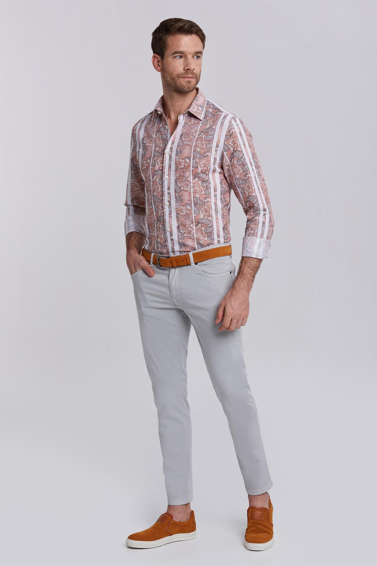 Slim Fit 5 Cep Açık Gri Yazlık Pantolon