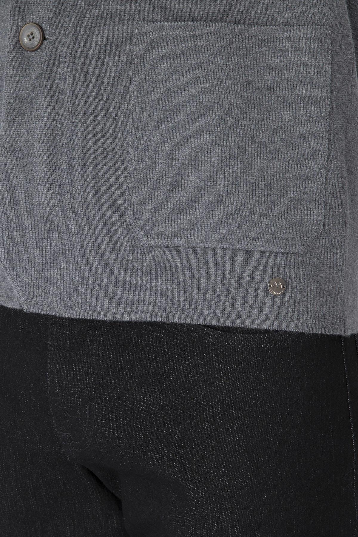 Extrafine Merino Slim Fit Gri Triko Ceket