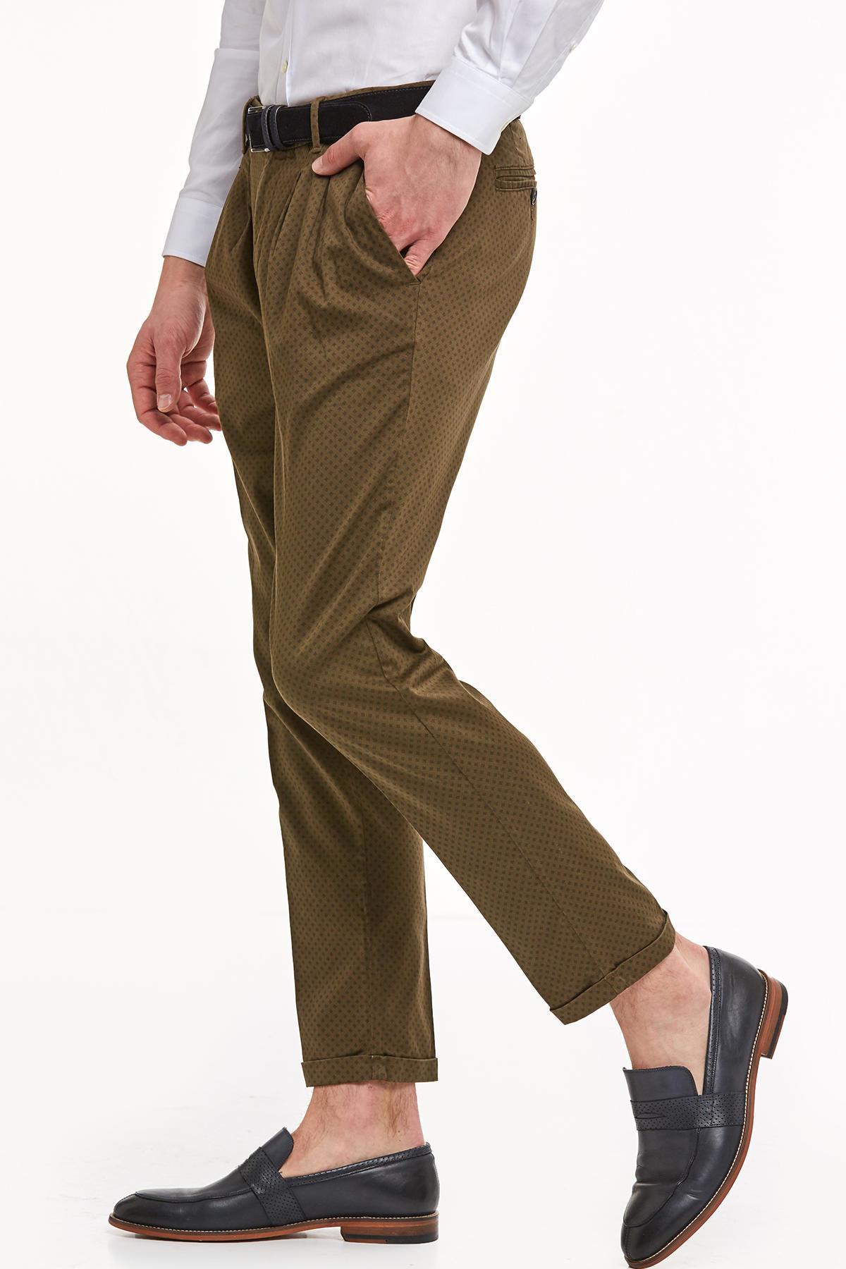 Haki Desenli Pamuk Chino Pantolon