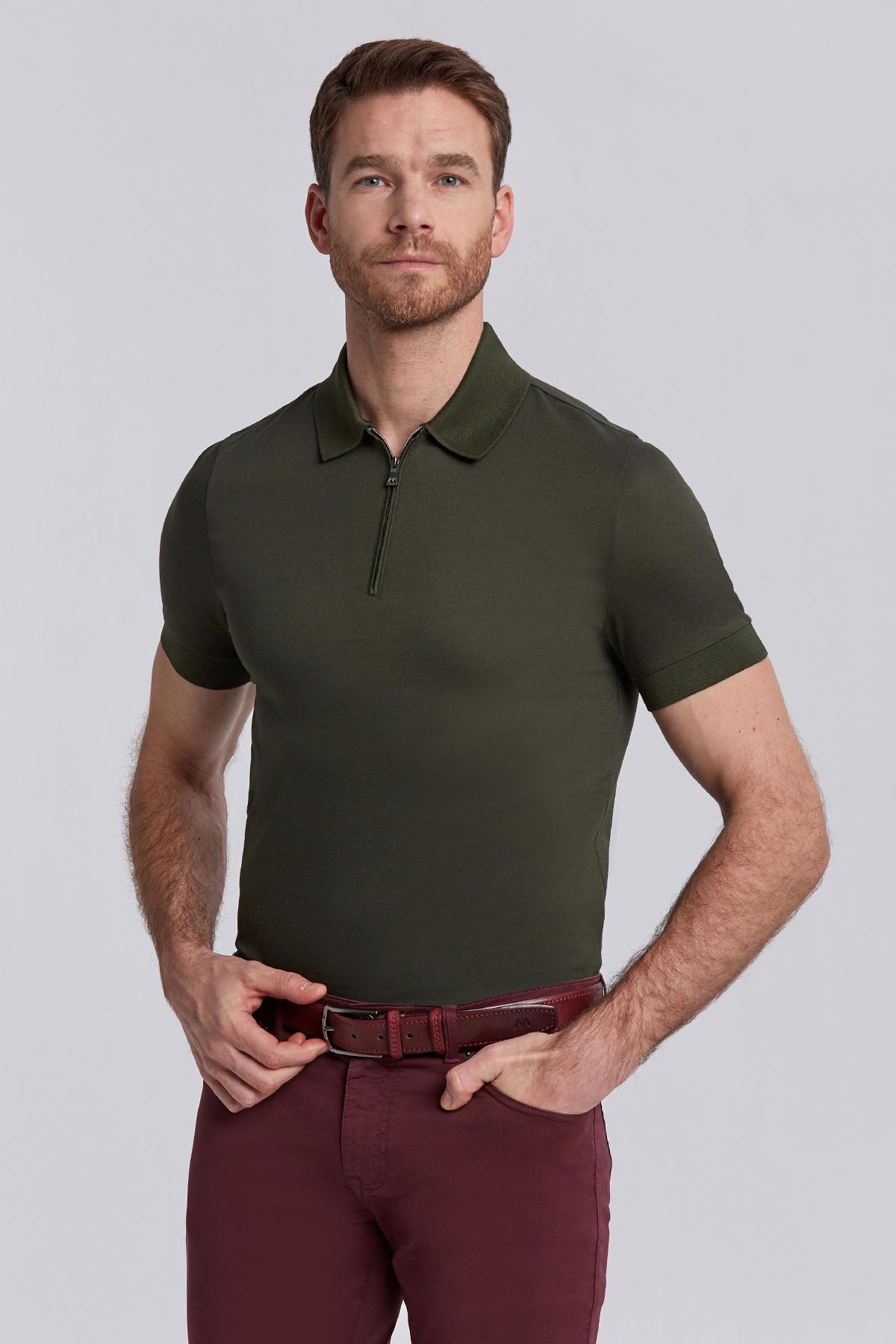 Haki Pamuk Fermuarlı Polo Yaka T-shirt