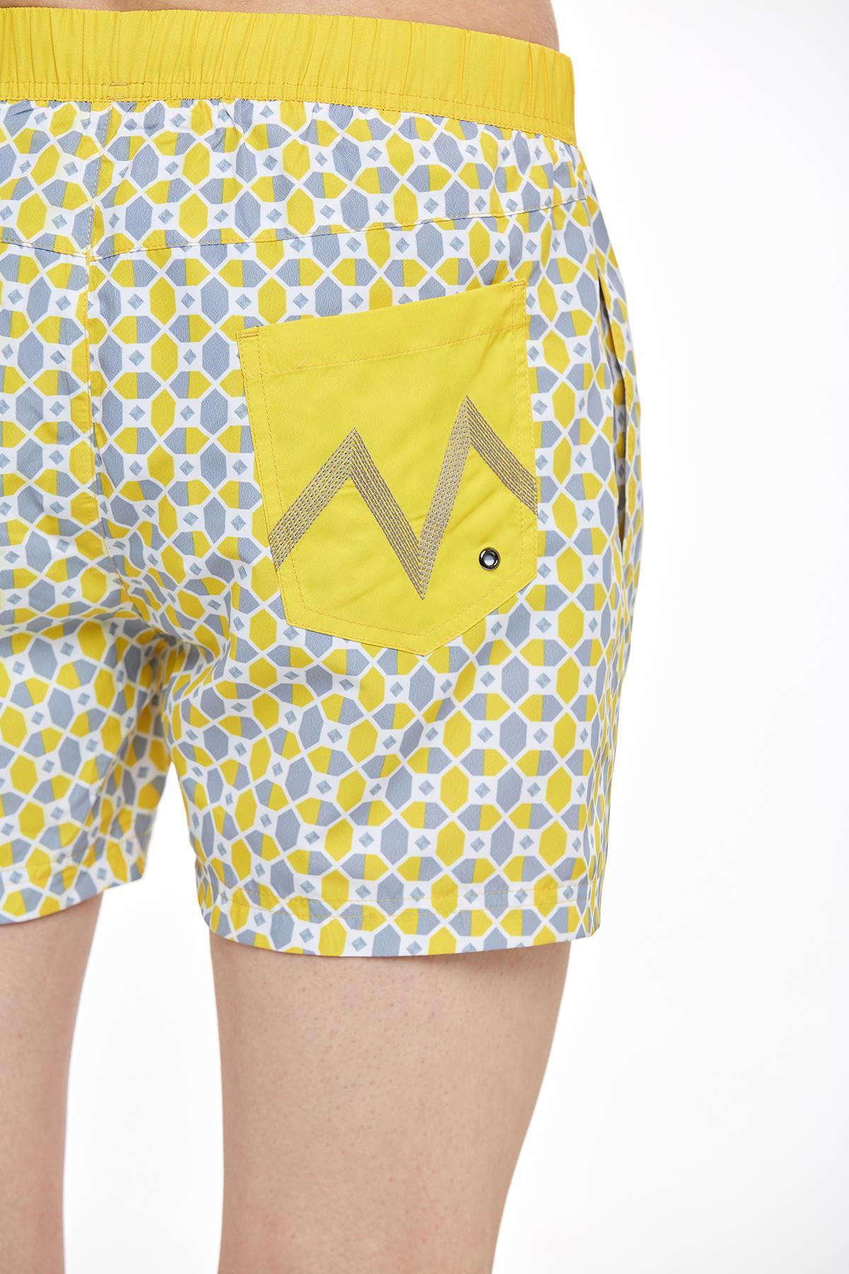 Heksagonal Desenli Sarı Quick Dry Mayo