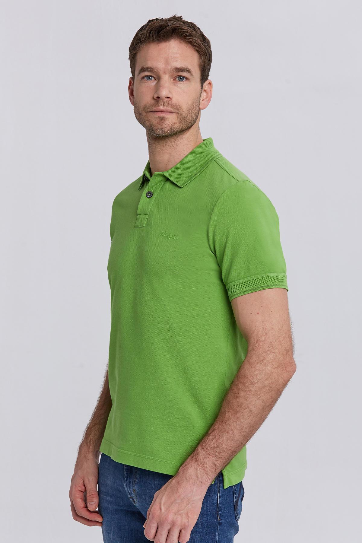 Vintage Görünümlü Yeşil Polo Yaka T-Shirt