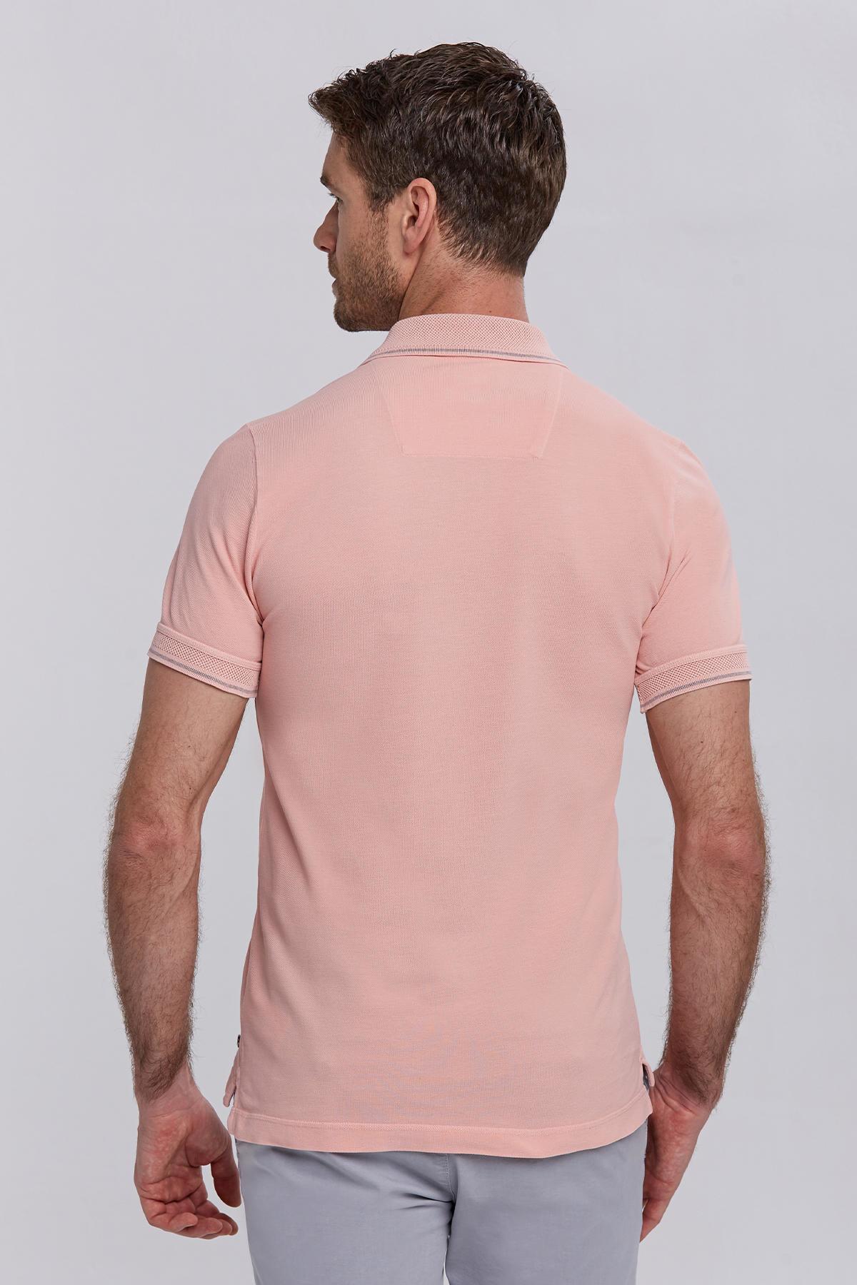Vintage Görünümlü Pembe Polo Yaka T-Shirt