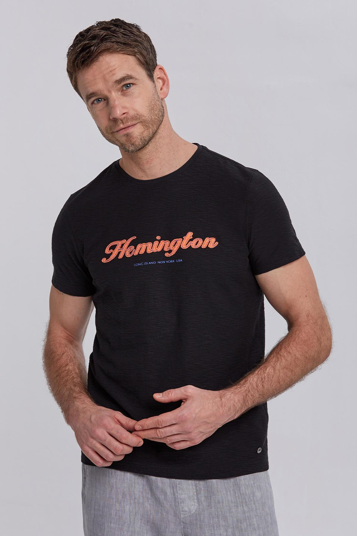 Hemington Logolu Siyah Pamuk T-Shirt