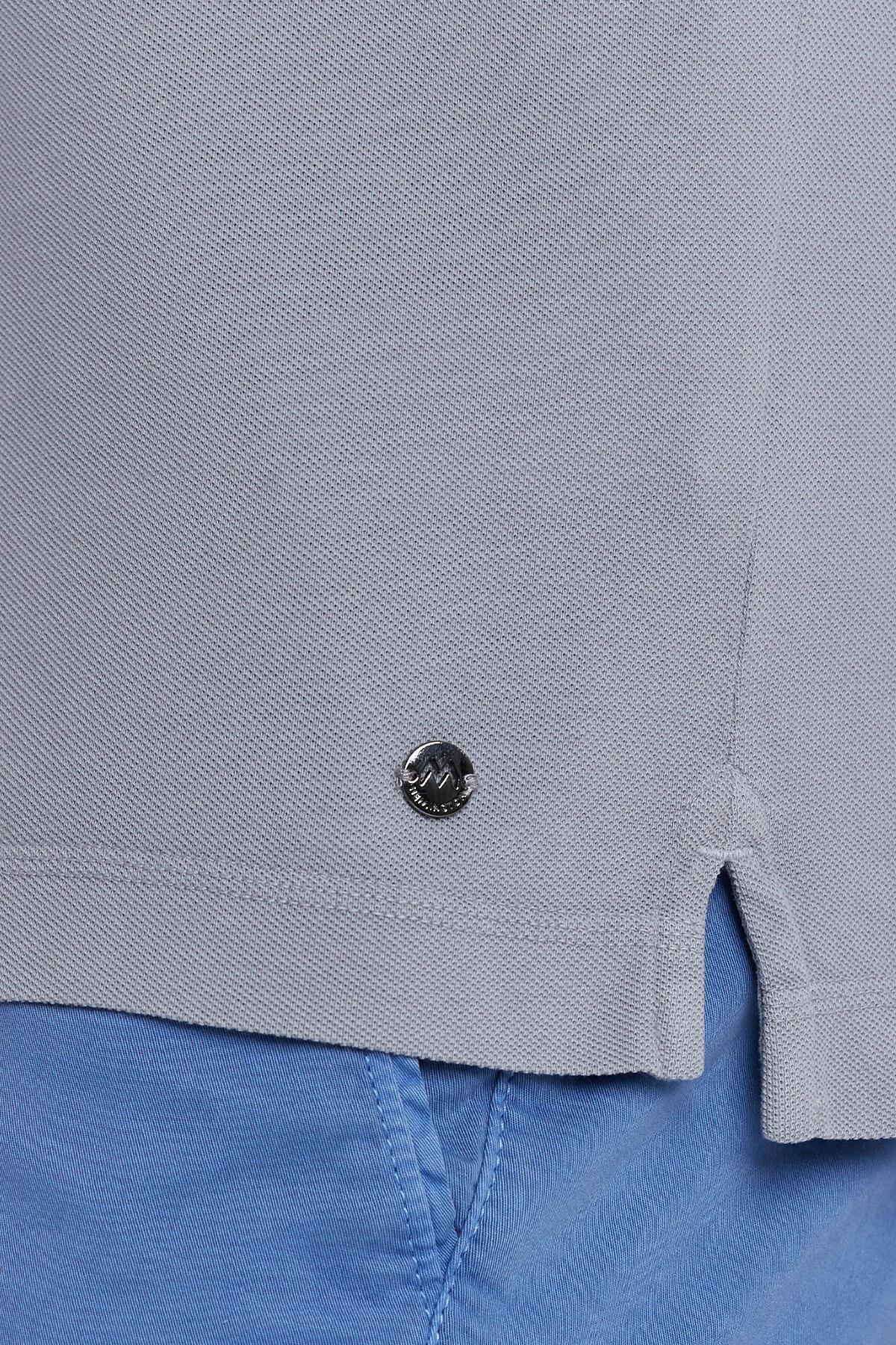 Vintage Görünümlü Gri Polo Yaka T-Shirt