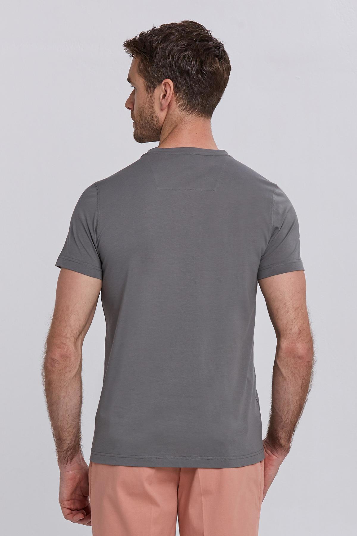 Hint Desen Bisiklet Yaka Gri Pamuk T-Shirt