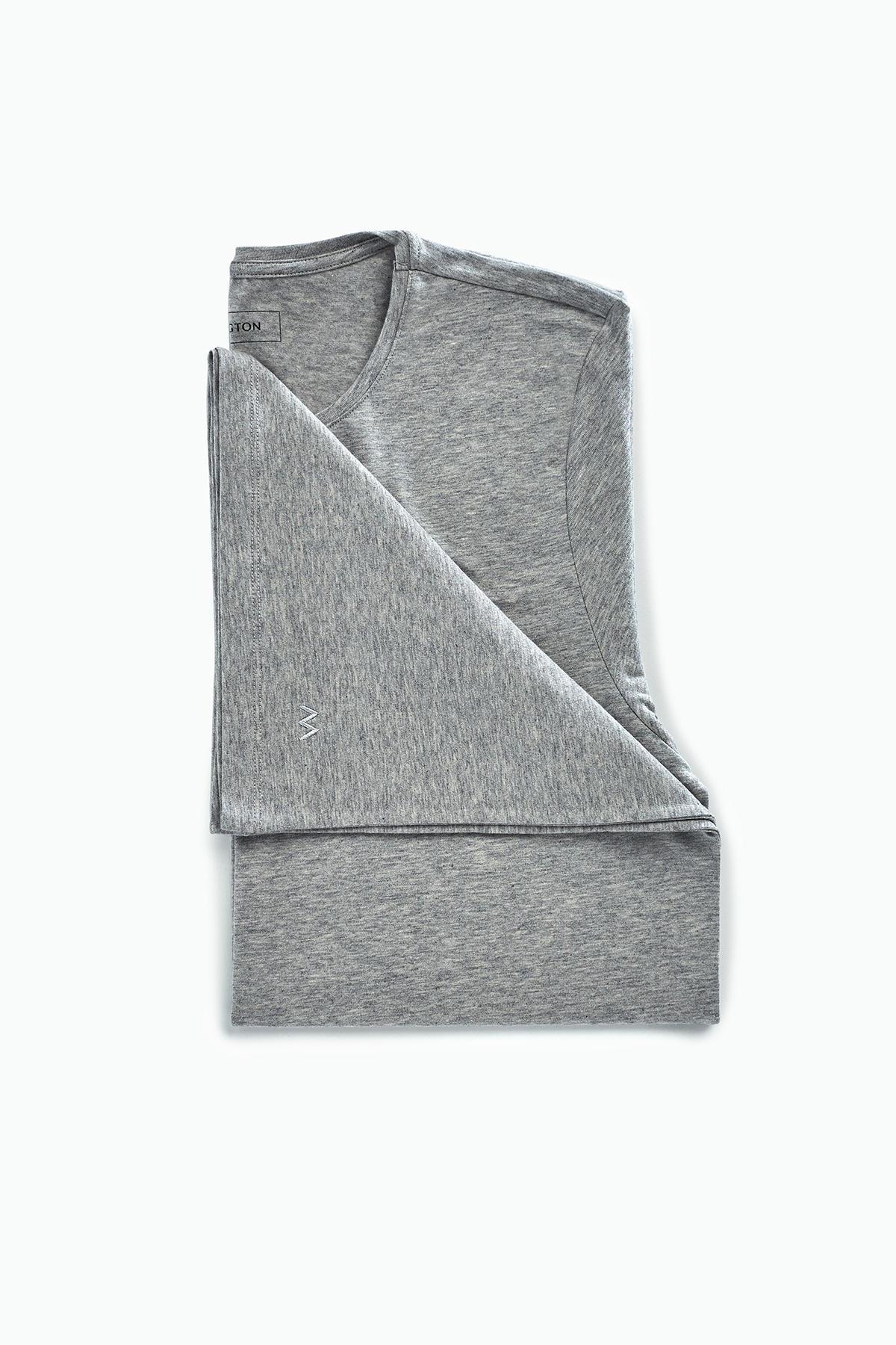 Gri-Beyaz İkili İç Giyim T-Shirt Seti