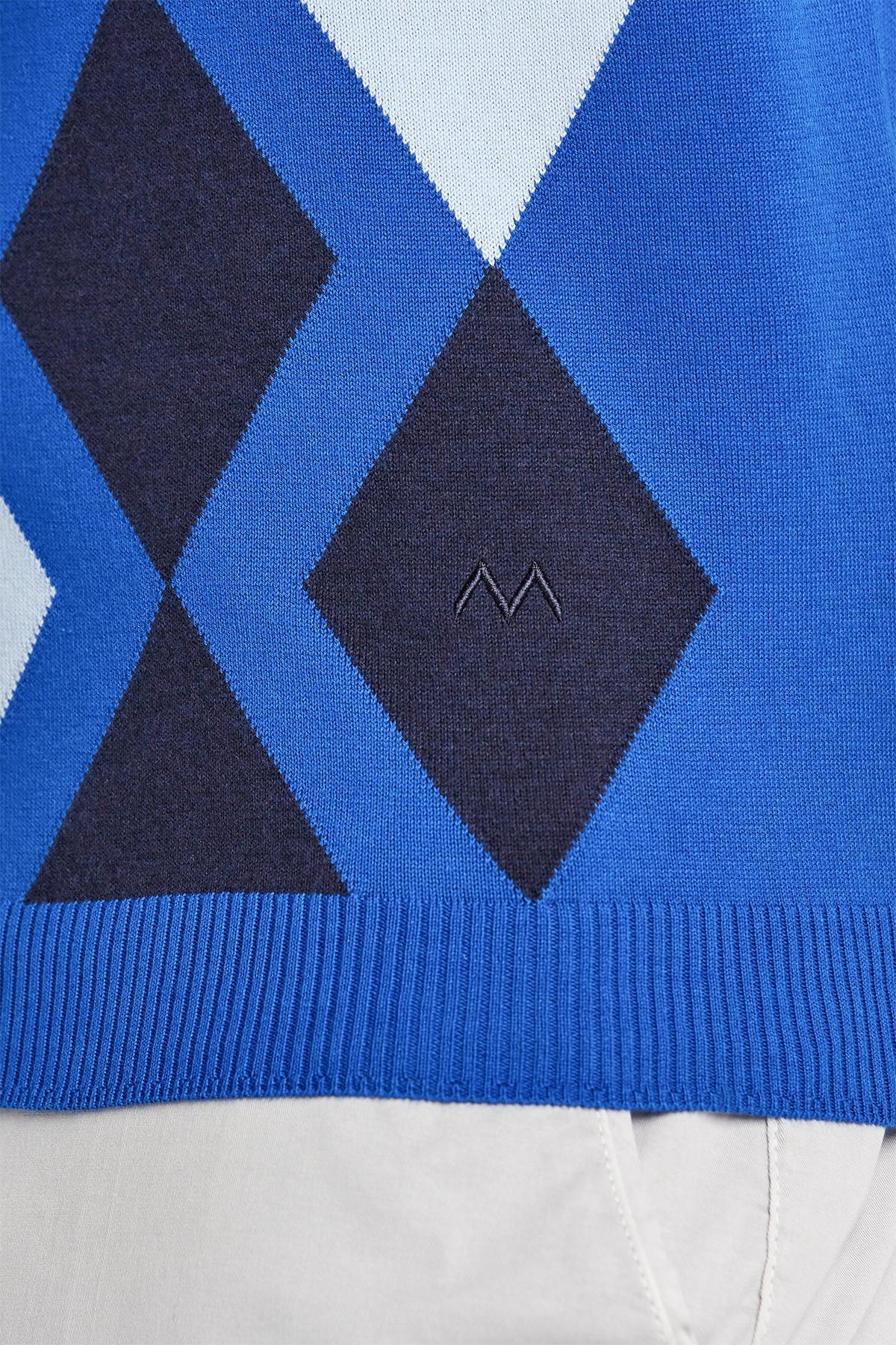 İndigo Mavi Baklava Desen Triko Polo