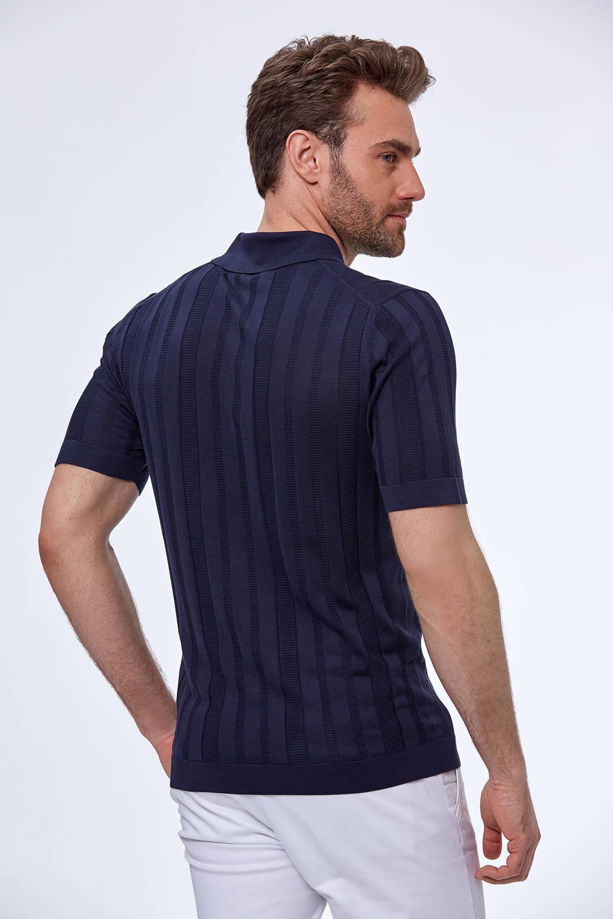 Desenli İpek Lacivert Triko Polo T-Shirt