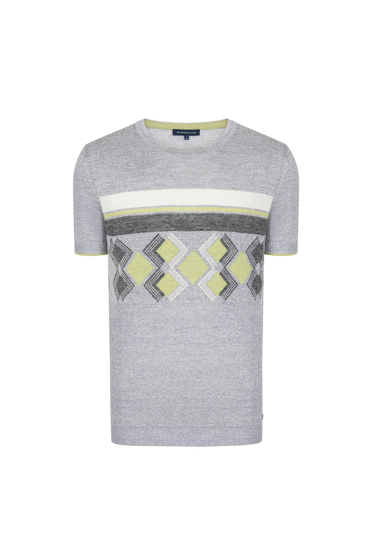 İpek Keten Açık Gri Triko T-shirt