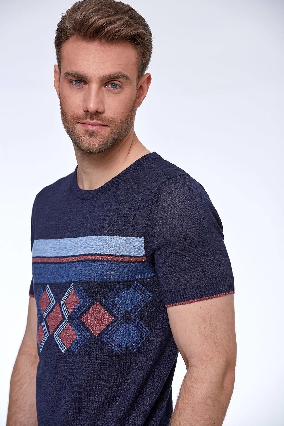 İpek Keten Lacivert Triko T-shirt