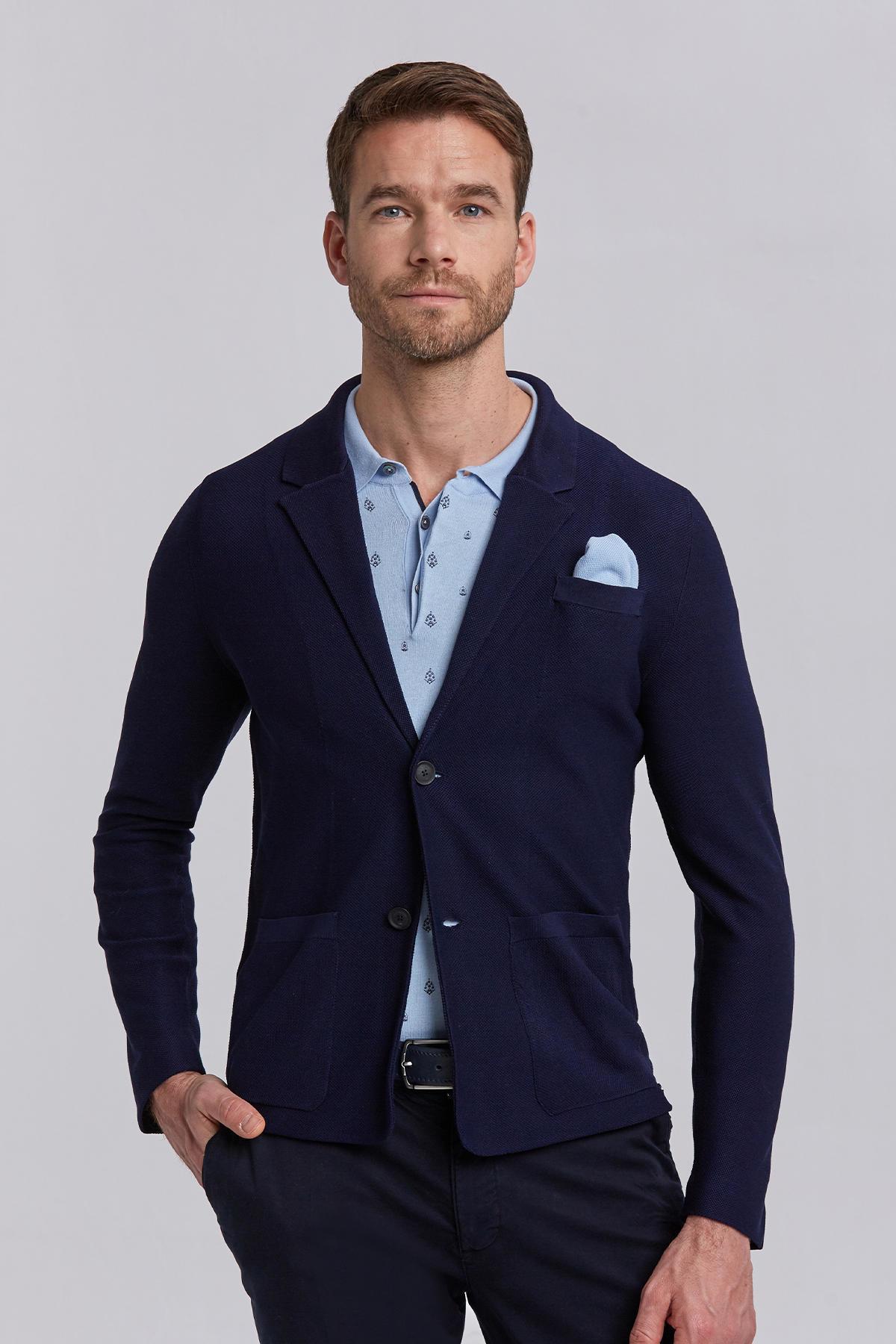 İtalyan Pamuk Lacivert Triko Yazlık Ceket