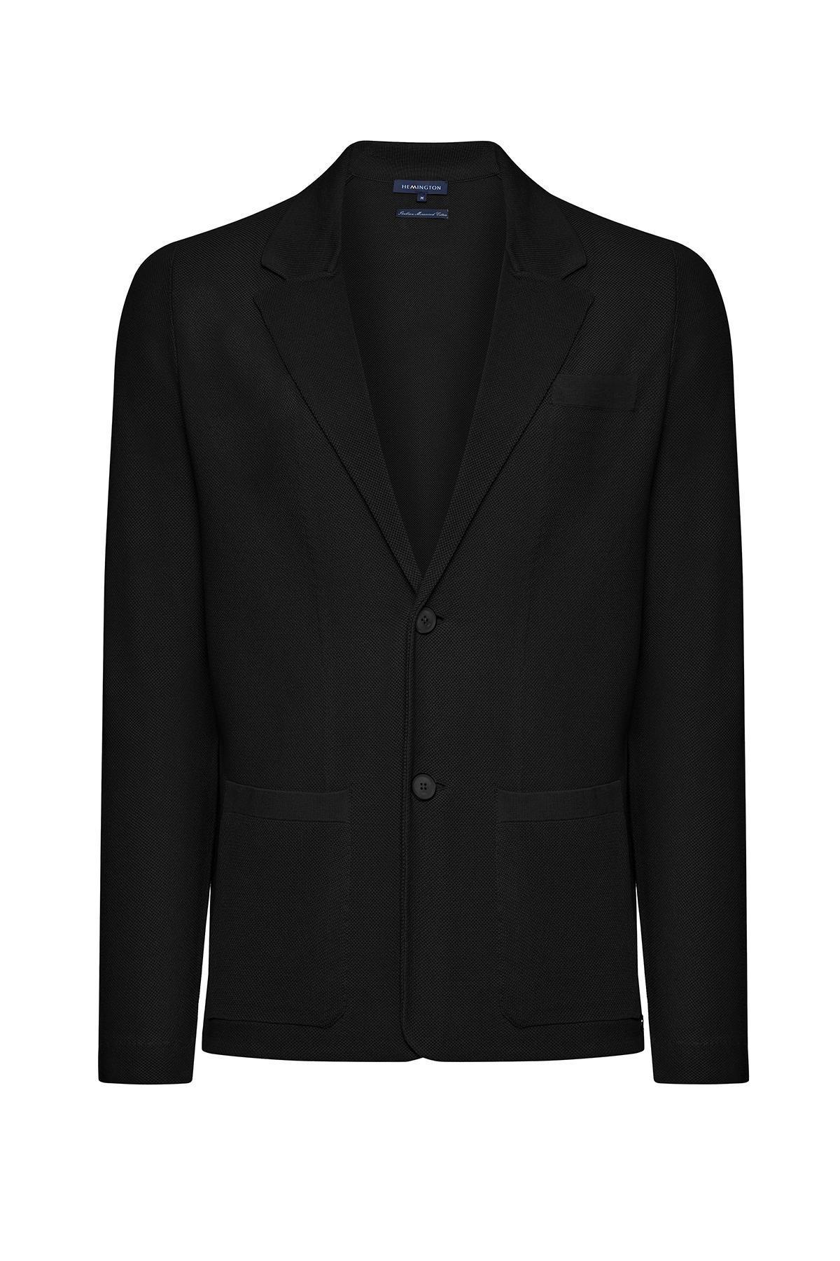 İtalyan Pamuk Siyah Triko Yazlık Ceket