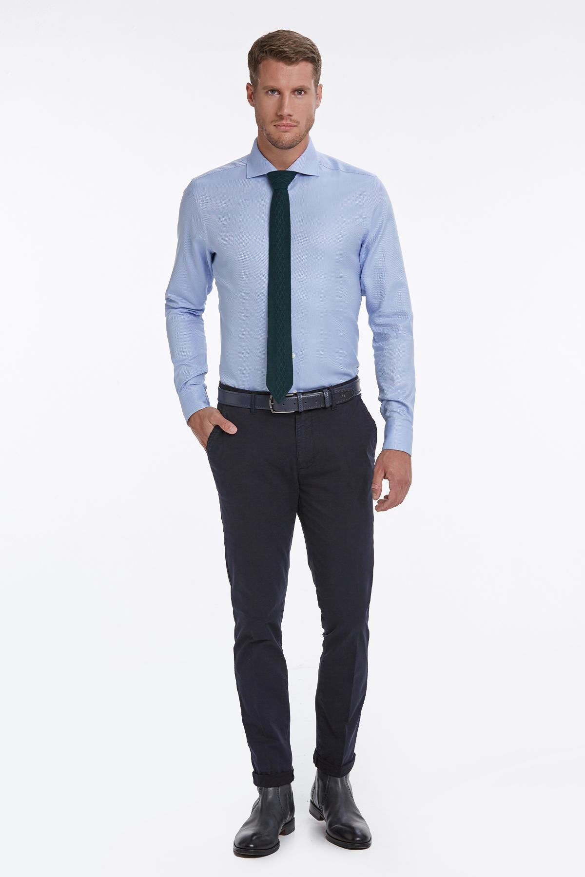İtalyan Yaka Mavi Business Gömlek