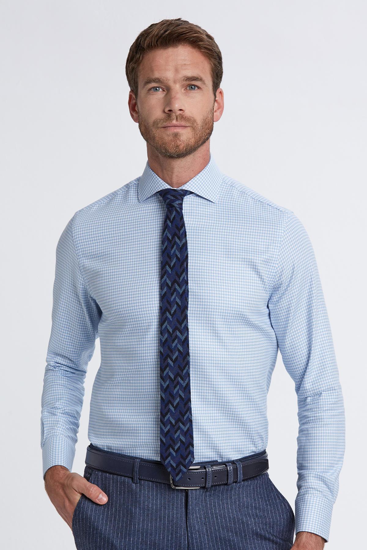 İtalyan Yaka Mavi Desenli Business Gömlek