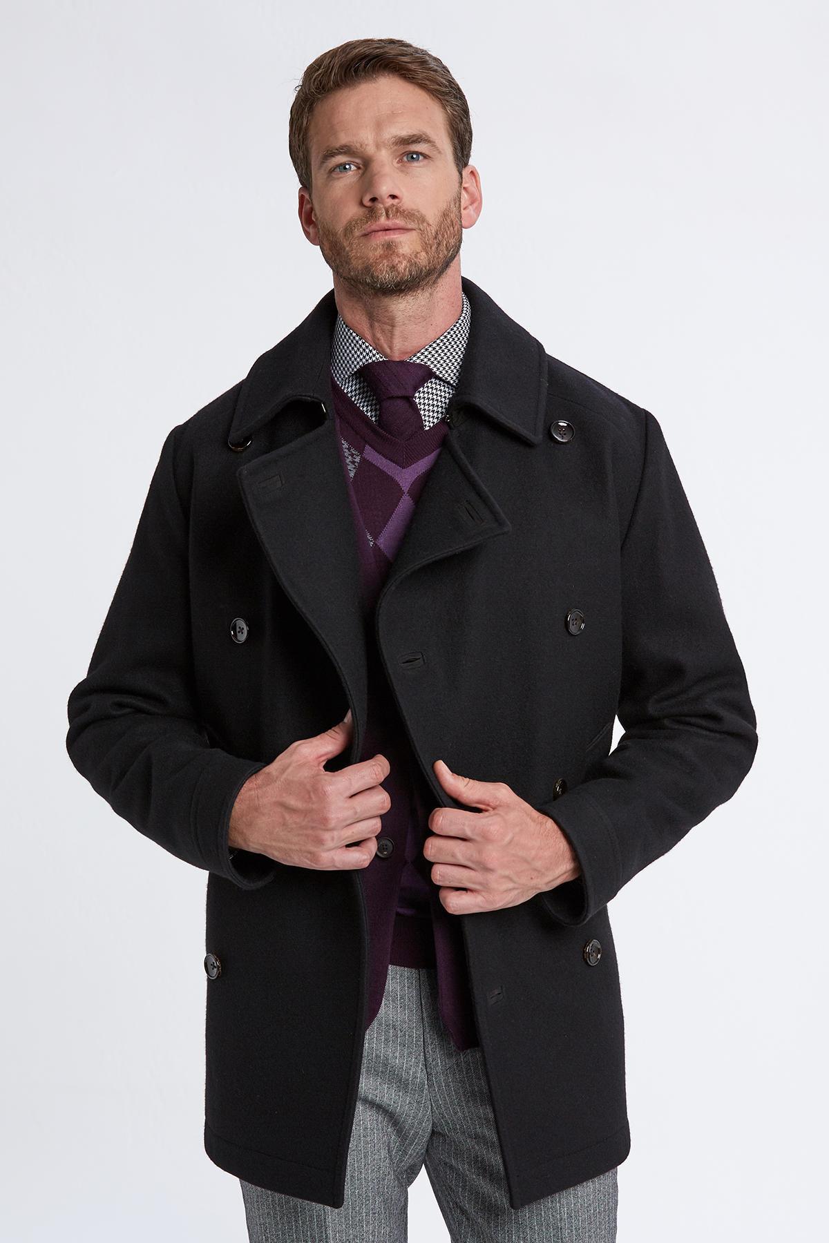 İtalyan Yün Siyah Kruvaze Palto